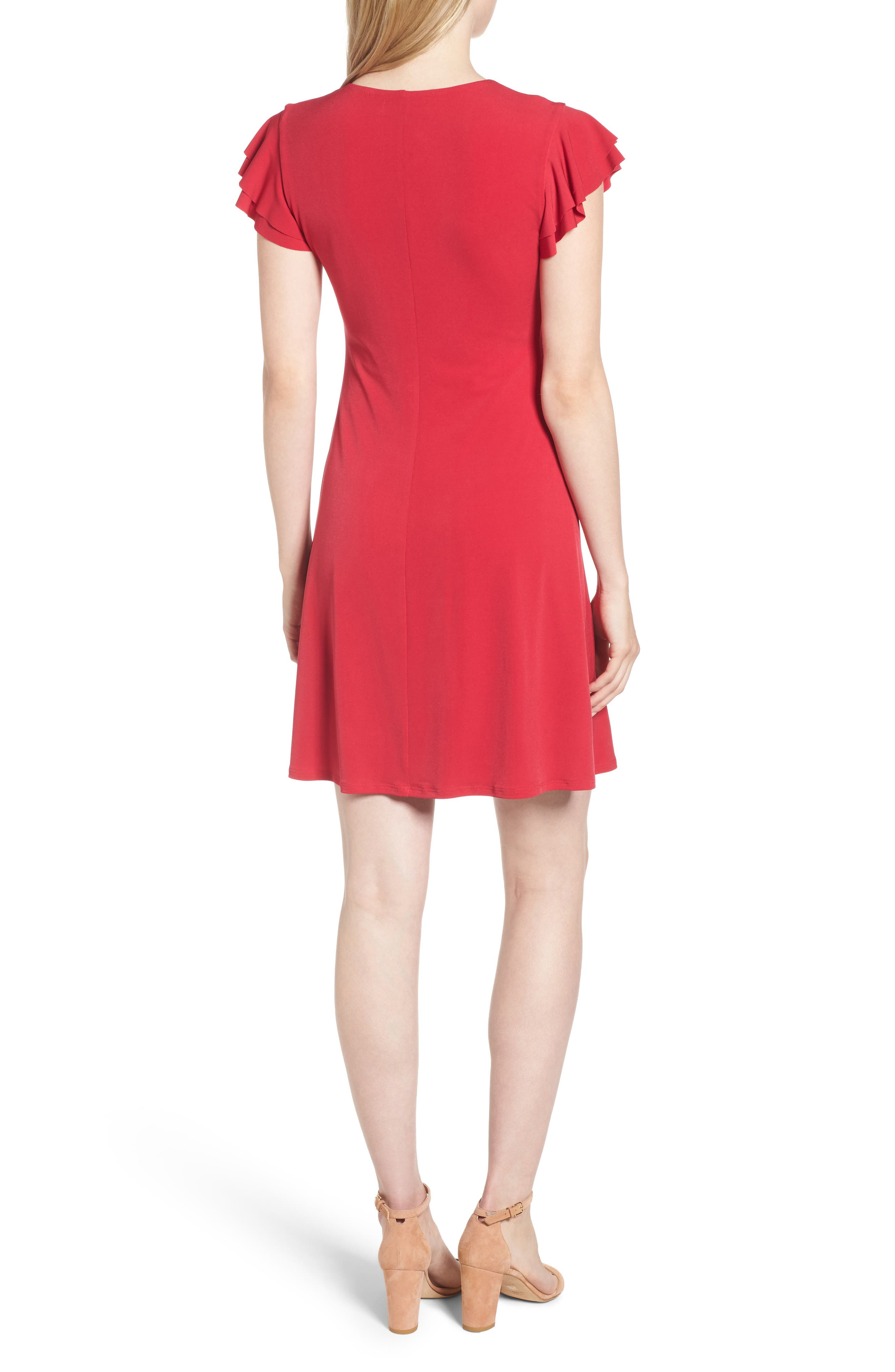 Alternate Image 2  - Velvet by Graham & Spencer Flutter Sleeve Stretch Jersey Dress