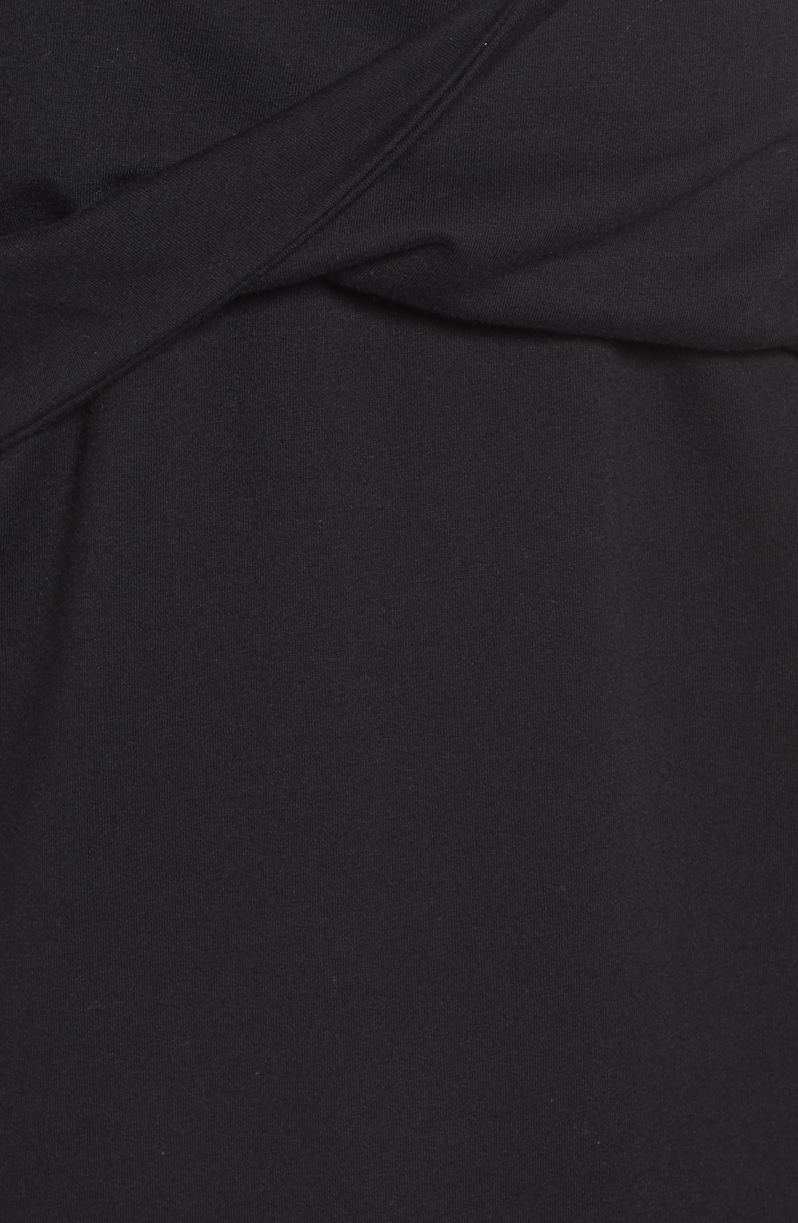Twist Front Sweatshirt,                             Alternate thumbnail 5, color,                             Black