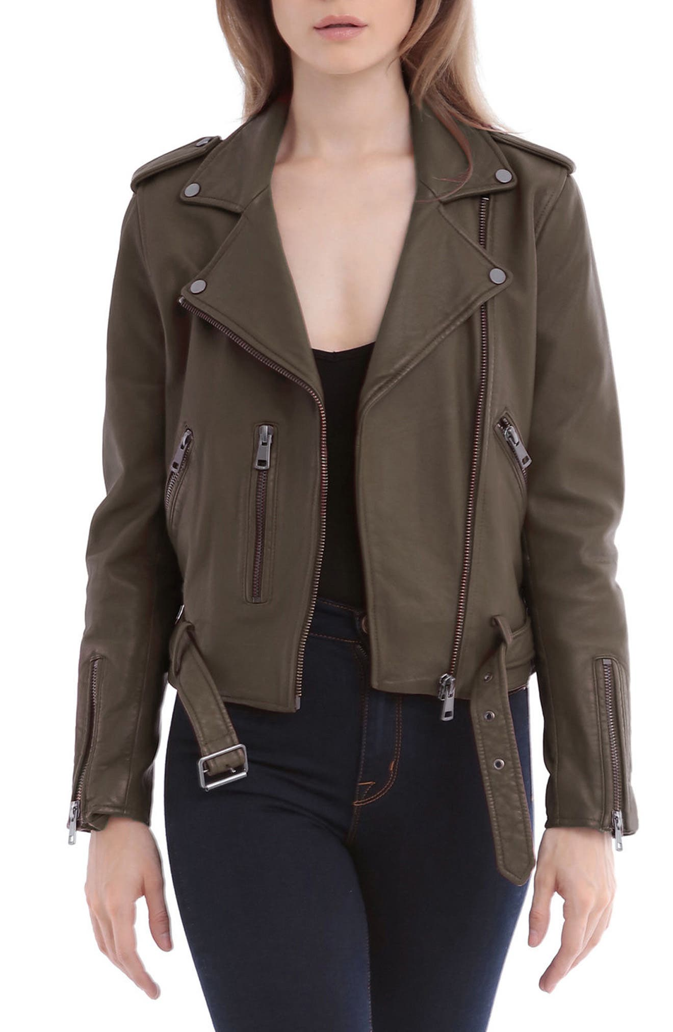 Alternate Image 1 Selected - Bagatelle Washed Leather Biker Jacket