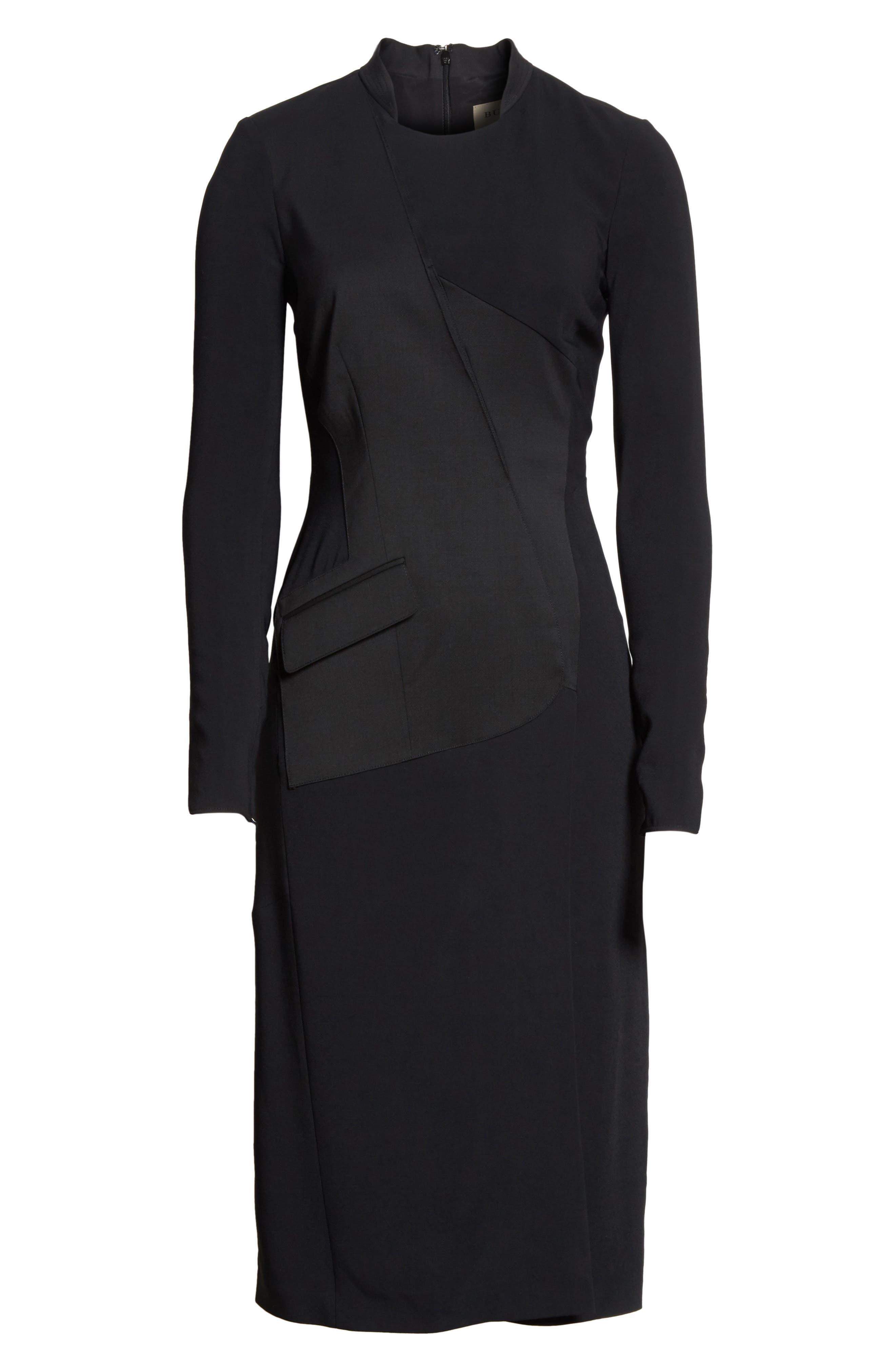 Miriam Sheath Dress,                             Alternate thumbnail 7, color,                             Black