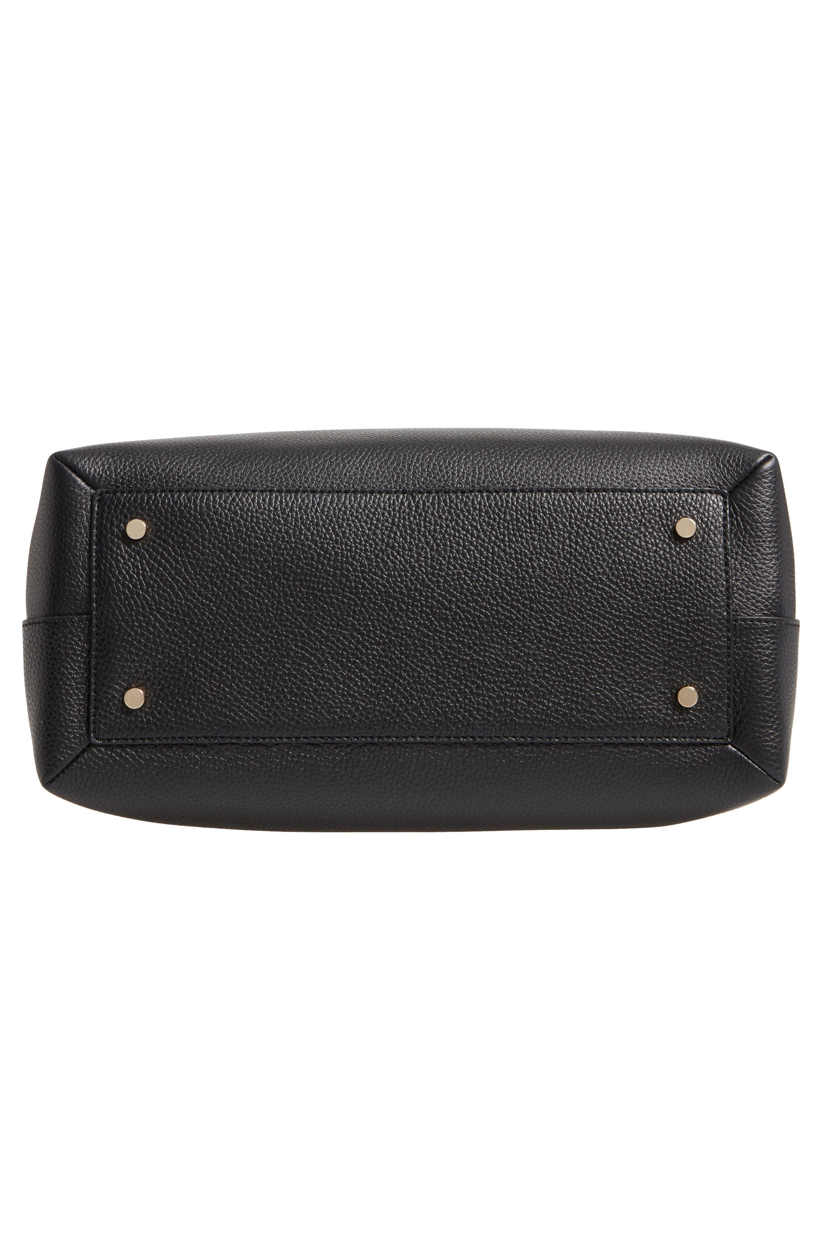 large madison knollwood drive - celestina leather satchel,                             Alternate thumbnail 5, color,                             Black