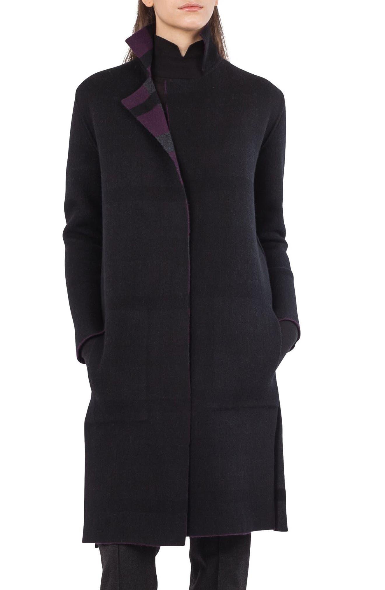 Reversible Double Face Cashmere Coat,                             Alternate thumbnail 2, color,                             Purple/ Black