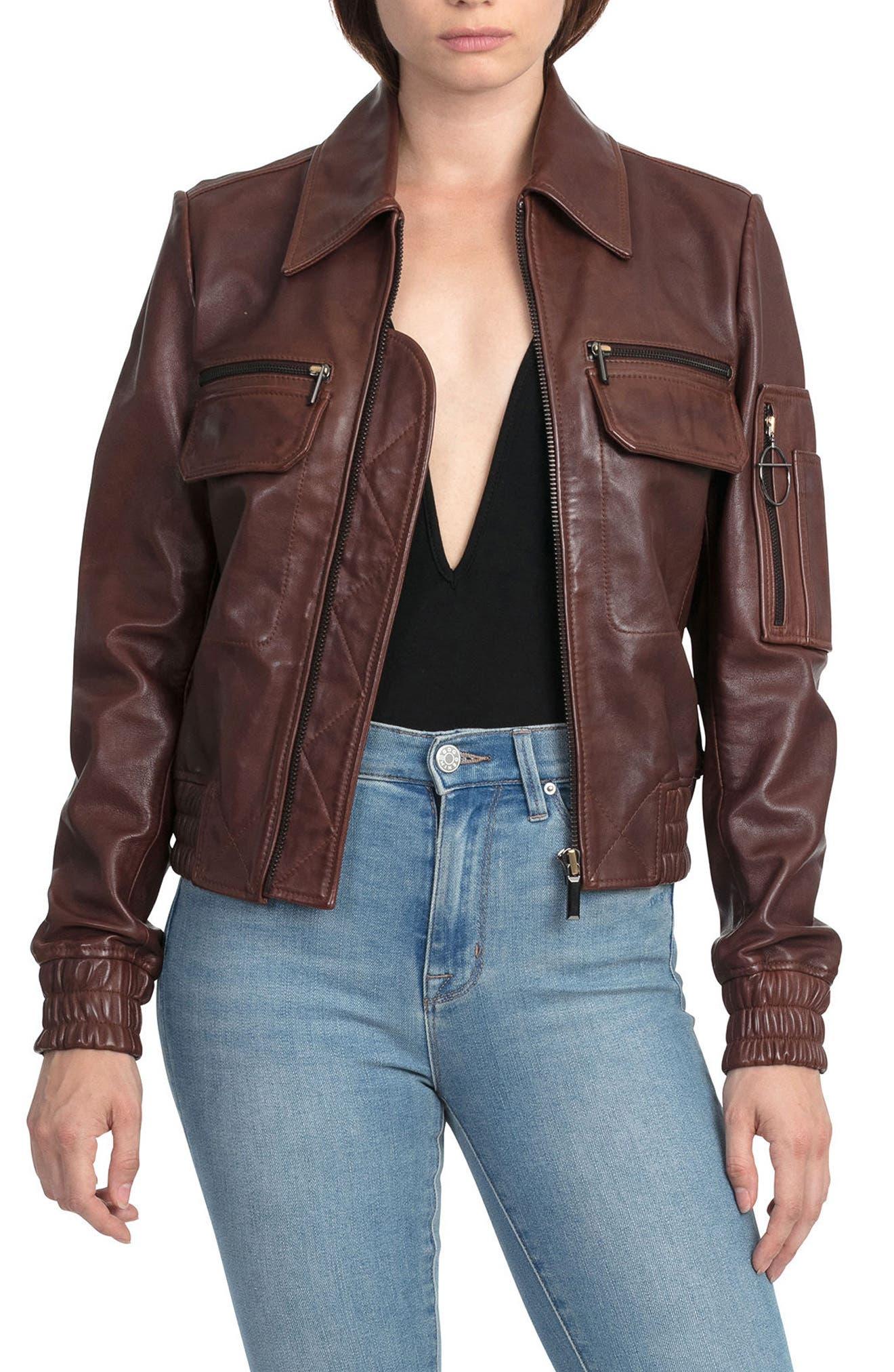 BAGATELLE.CITY The Aviator Leather Jacket,                         Main,                         color, Mahogany