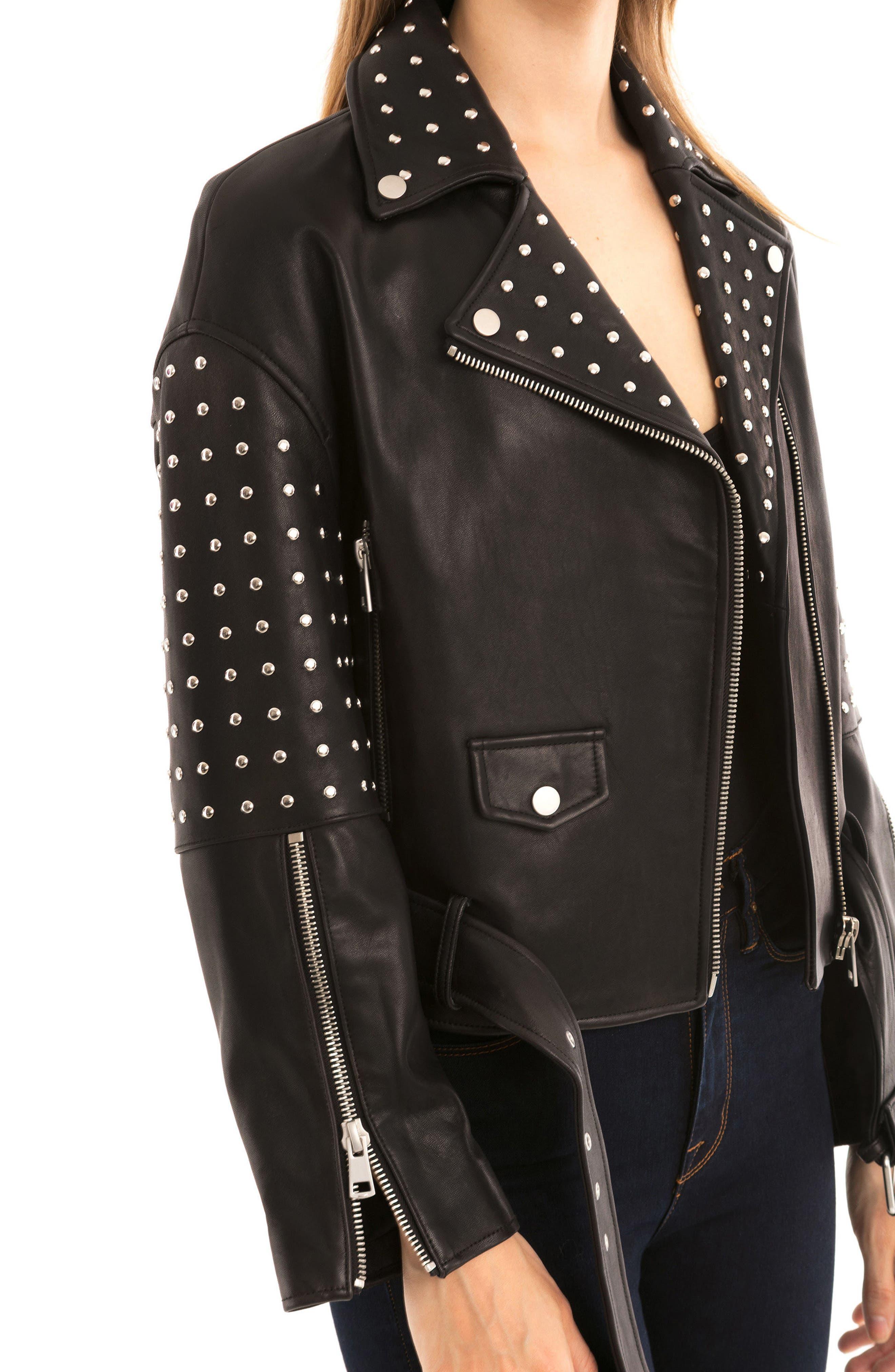Bagatelle Studded Leather Jacket,                             Alternate thumbnail 4, color,                             Black