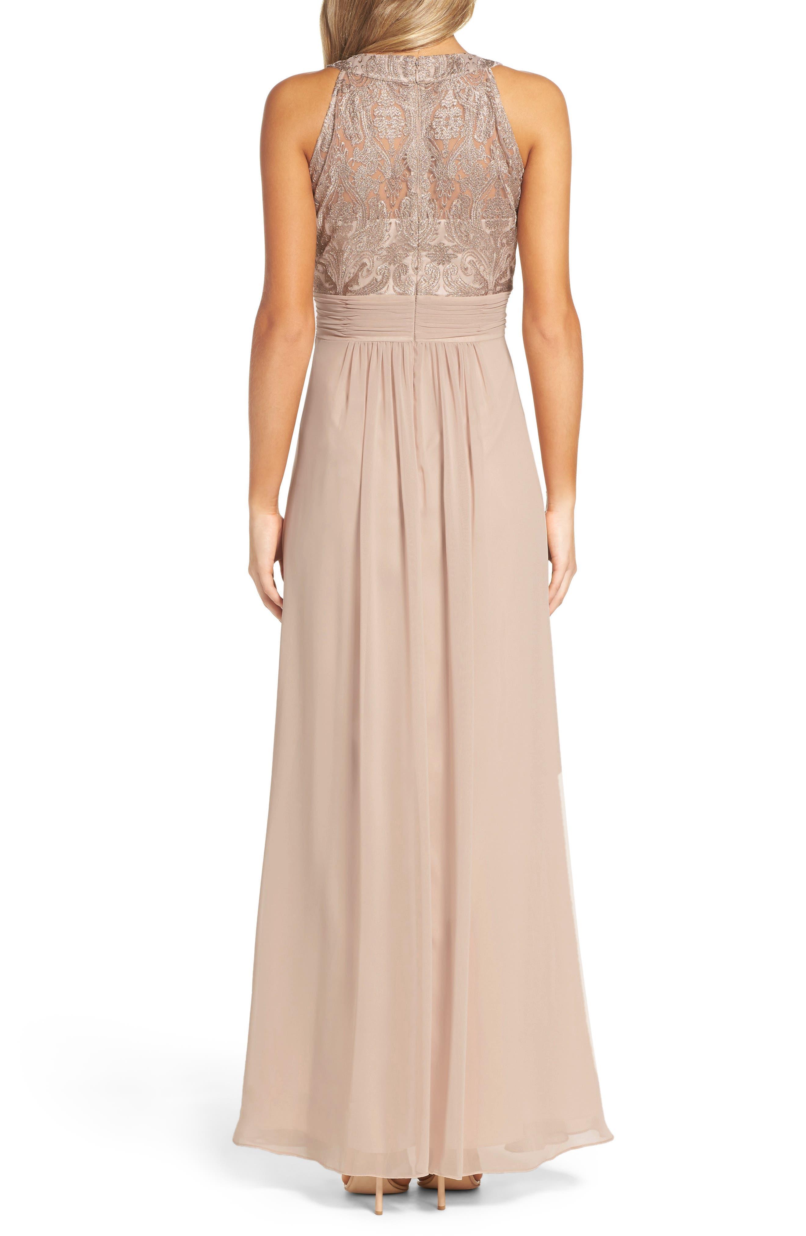 Lace Bodice Gown,                             Alternate thumbnail 3, color,                             Beige