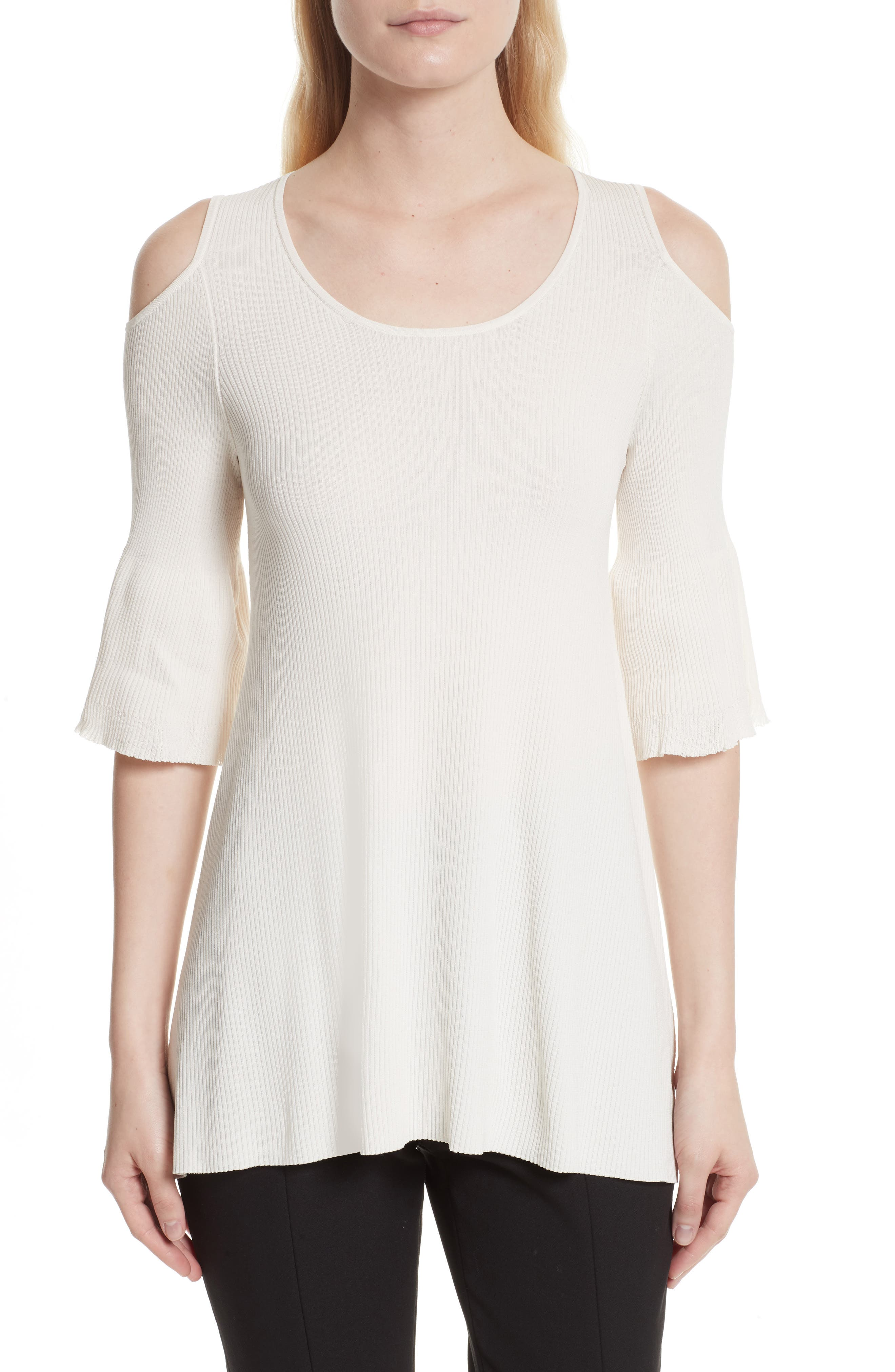 Elizabeth and James Hennie Cold Shoulder Peplum Top