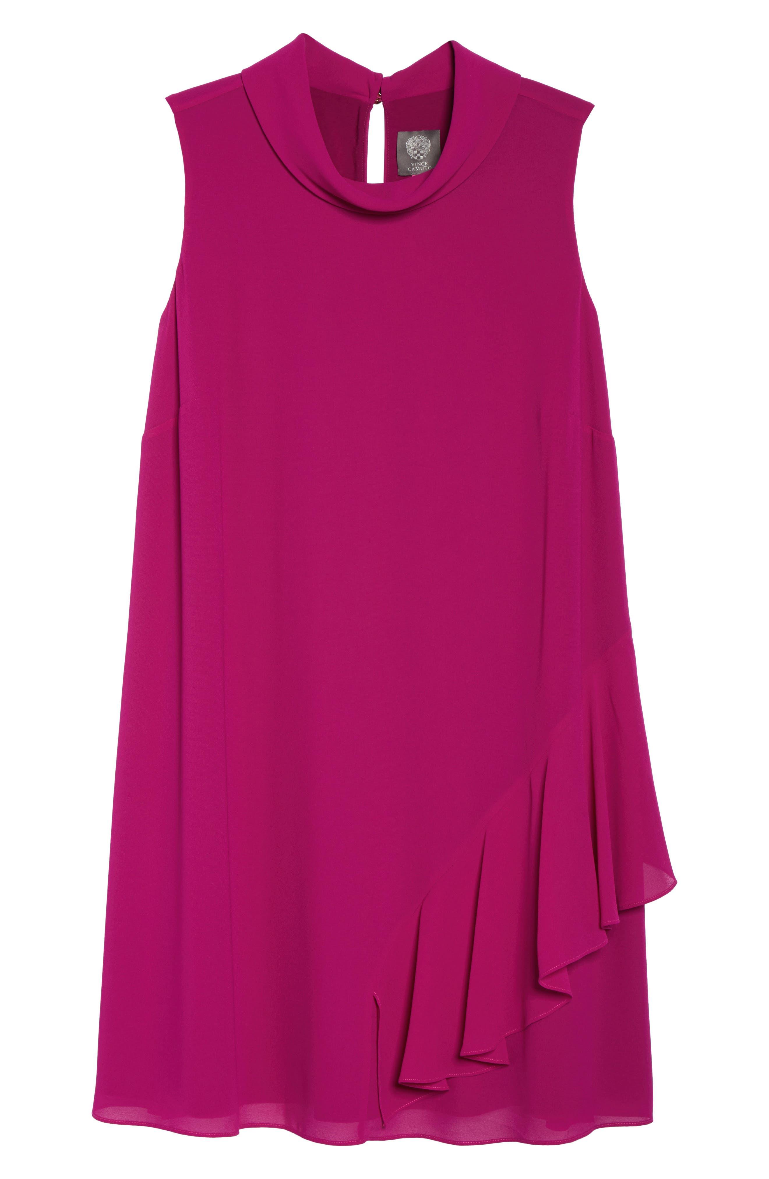 Ruffle Chiffon Shift Dress,                             Alternate thumbnail 6, color,                             Magenta