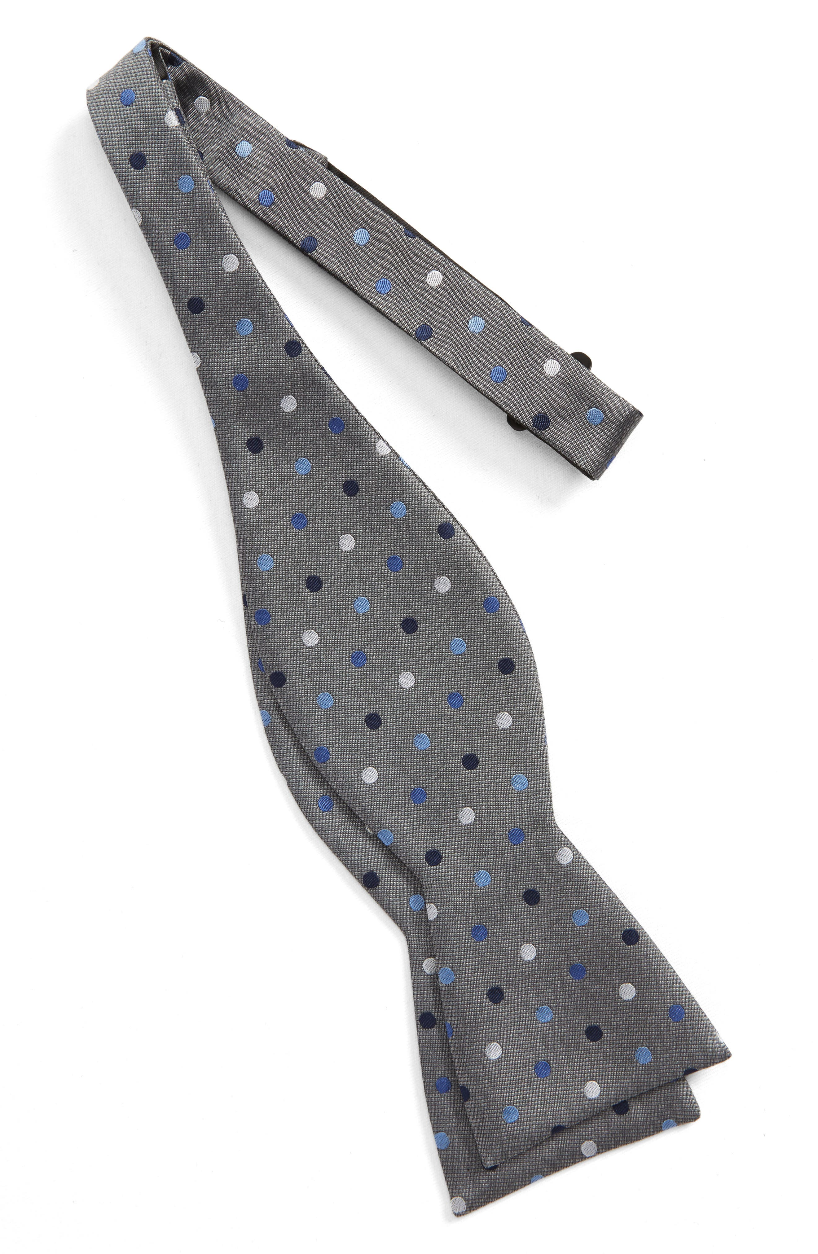 Spree Dot Silk Bow Tie,                             Alternate thumbnail 2, color,                             Grey