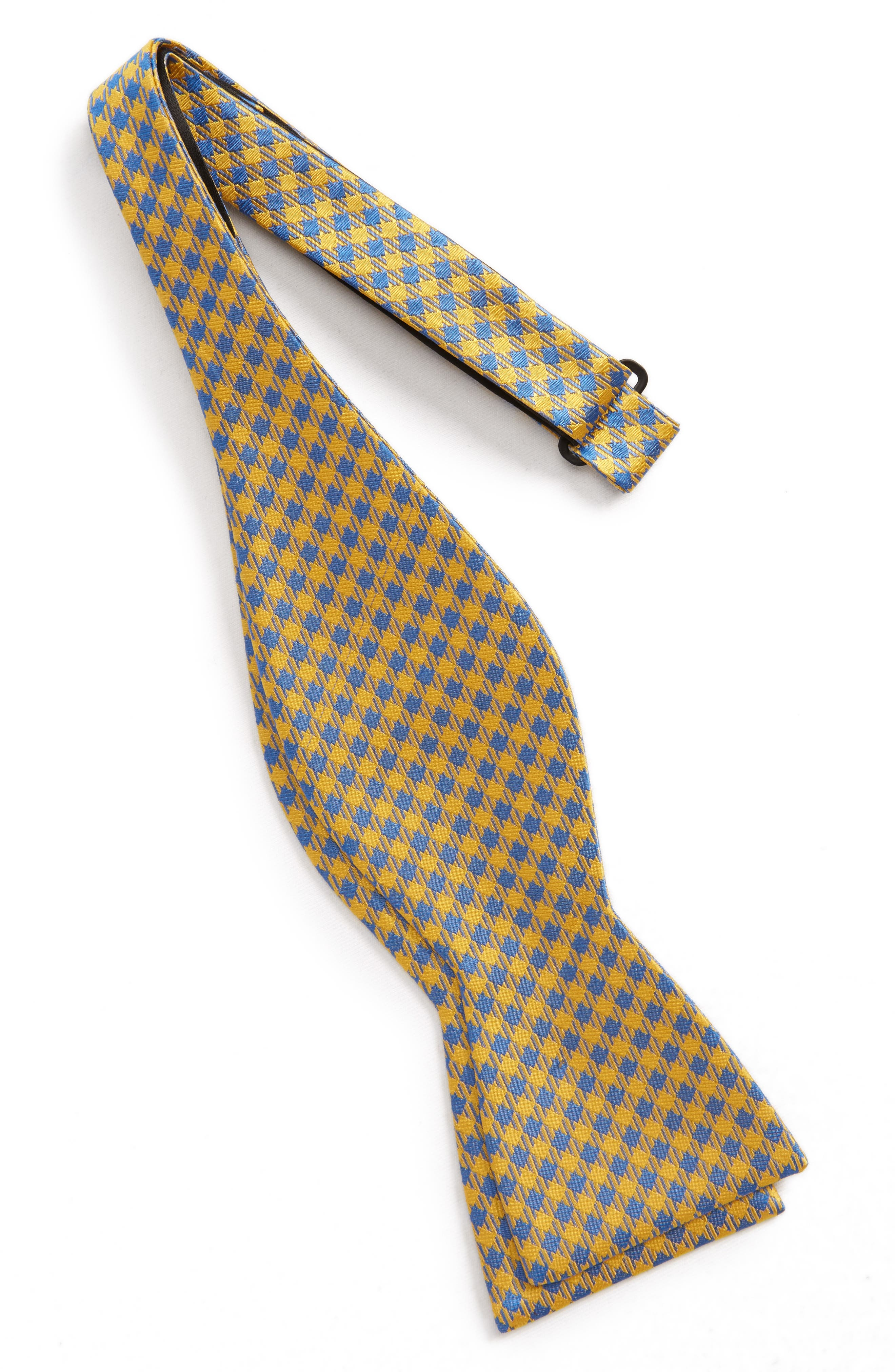 Commix Check Silk Bow Tie,                             Alternate thumbnail 2, color,                             Yellow