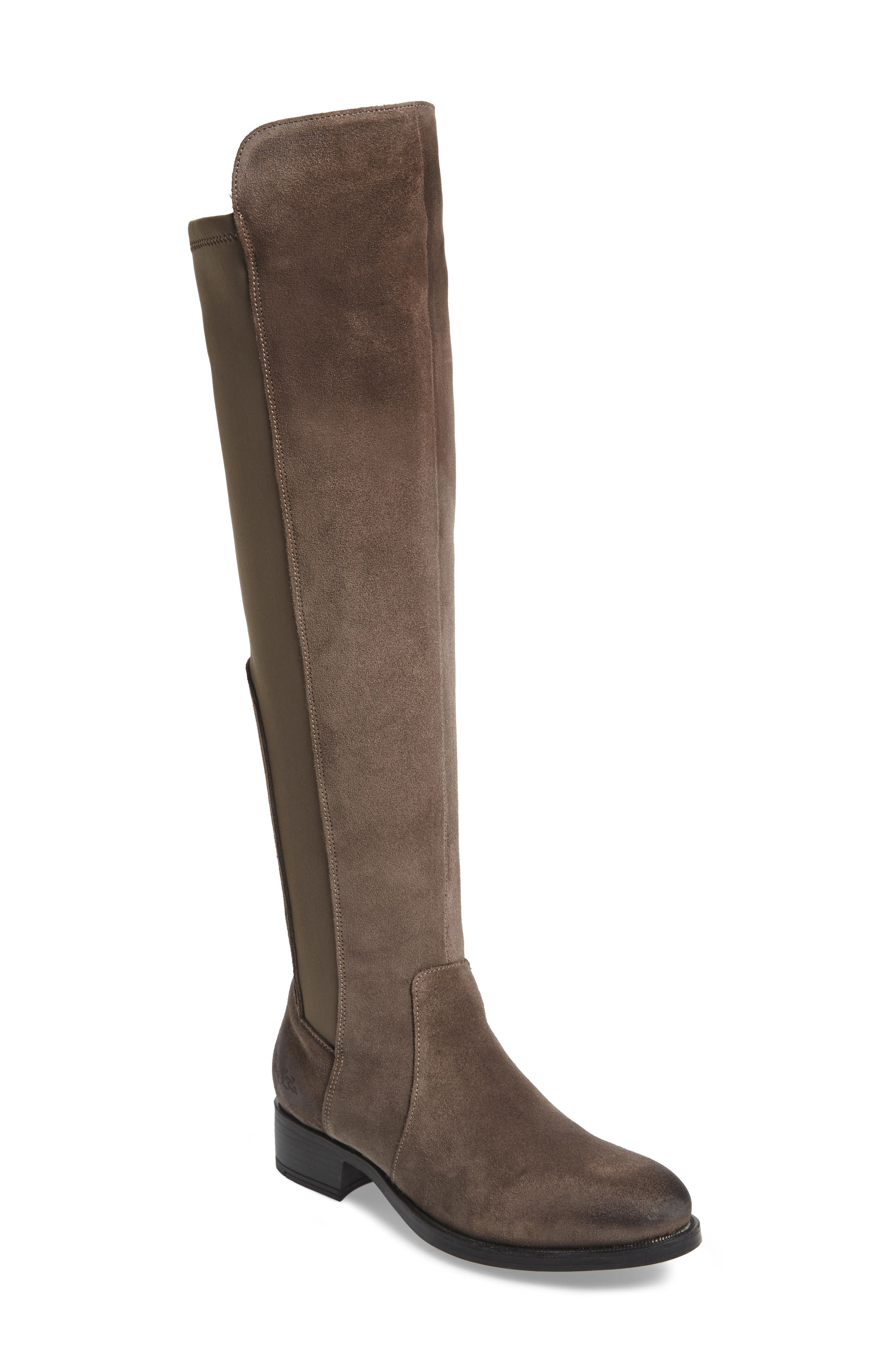 Bunt Waterproof Over the Knee Boot,                             Main thumbnail 1, color,                             Elephant Suede Leather
