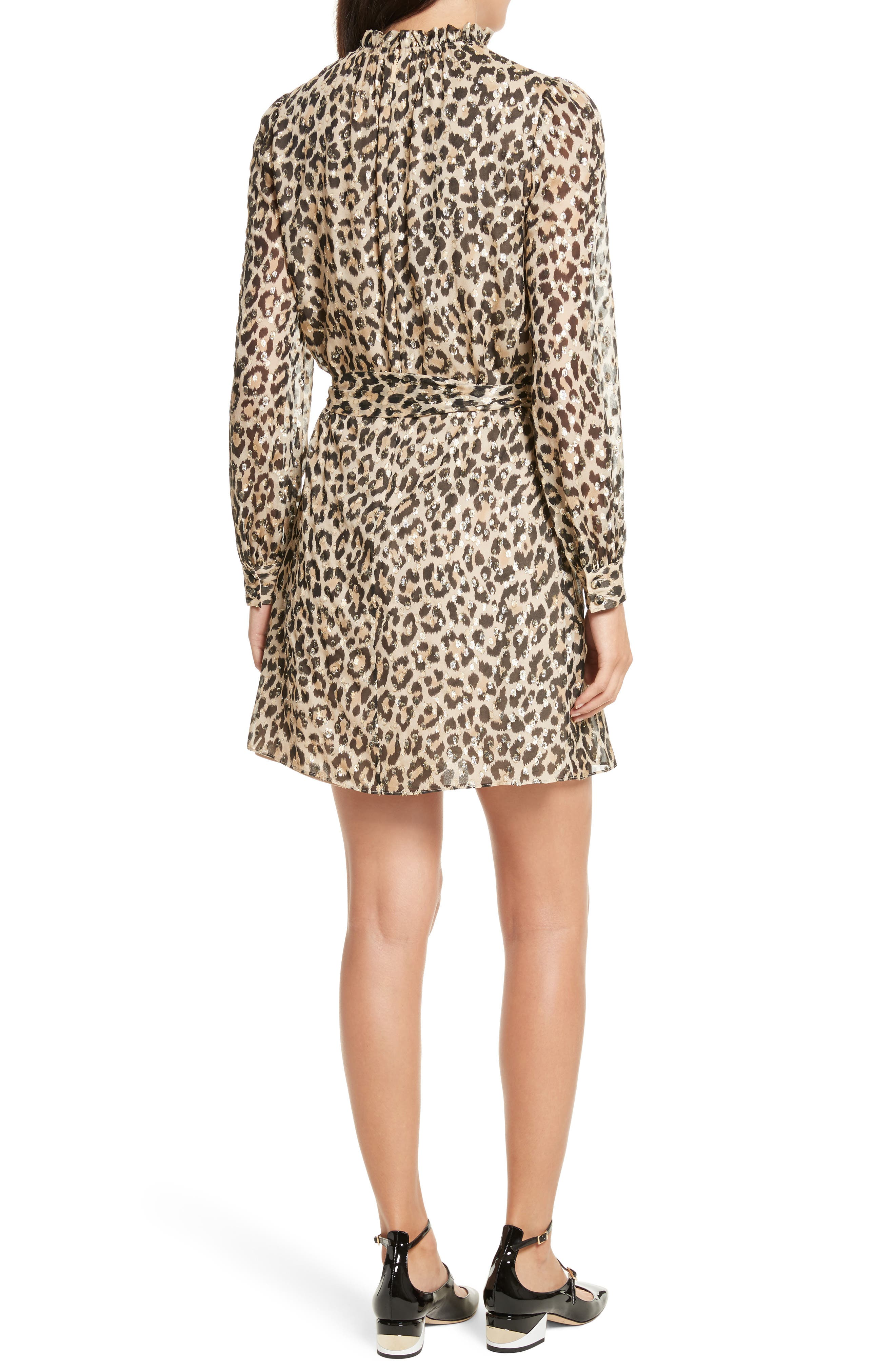 leopard clip dot minidress,                             Alternate thumbnail 2, color,                             Classic Camel
