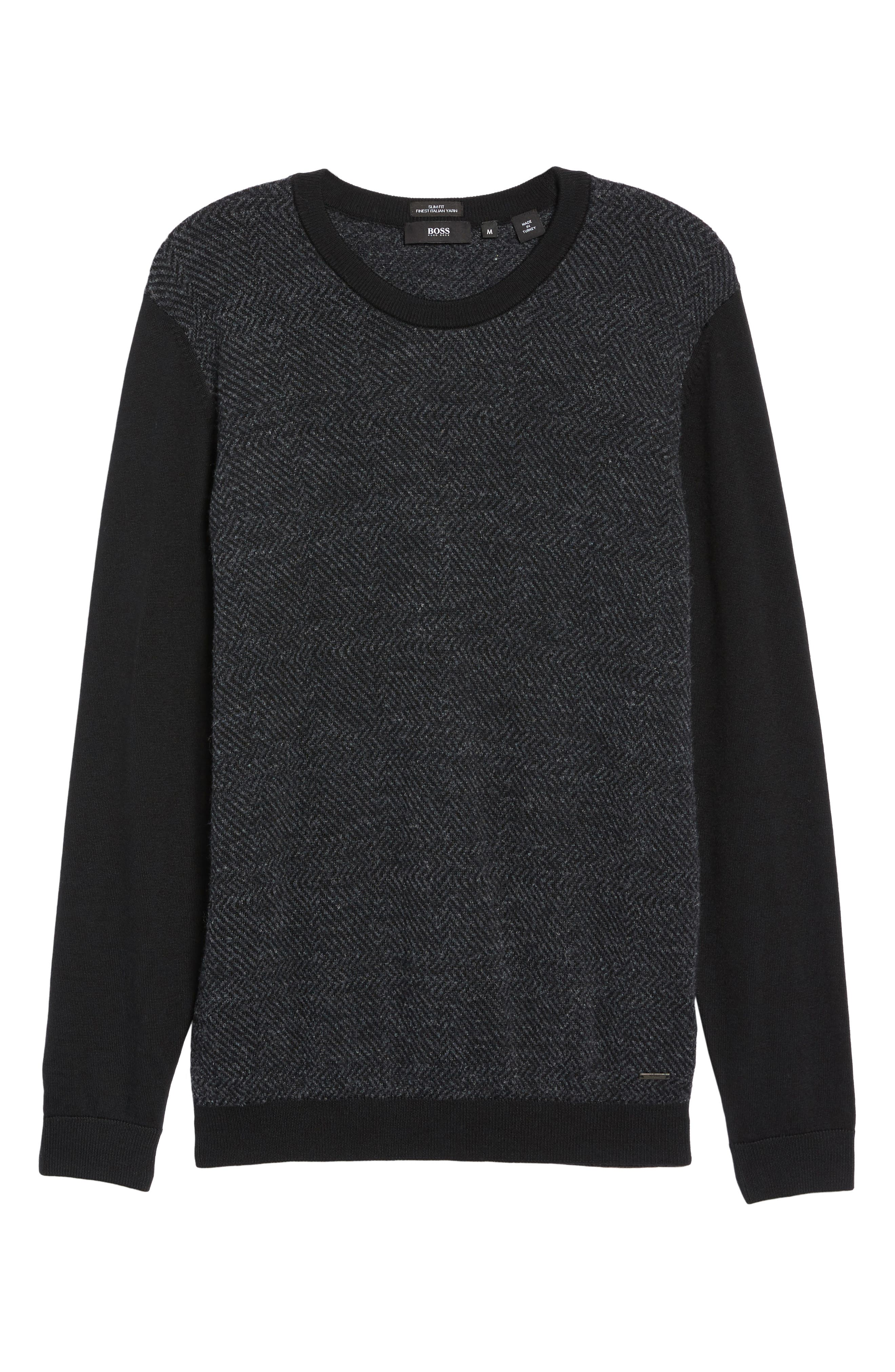 Notto Wool Blend Sweater,                             Alternate thumbnail 5, color,                             Black