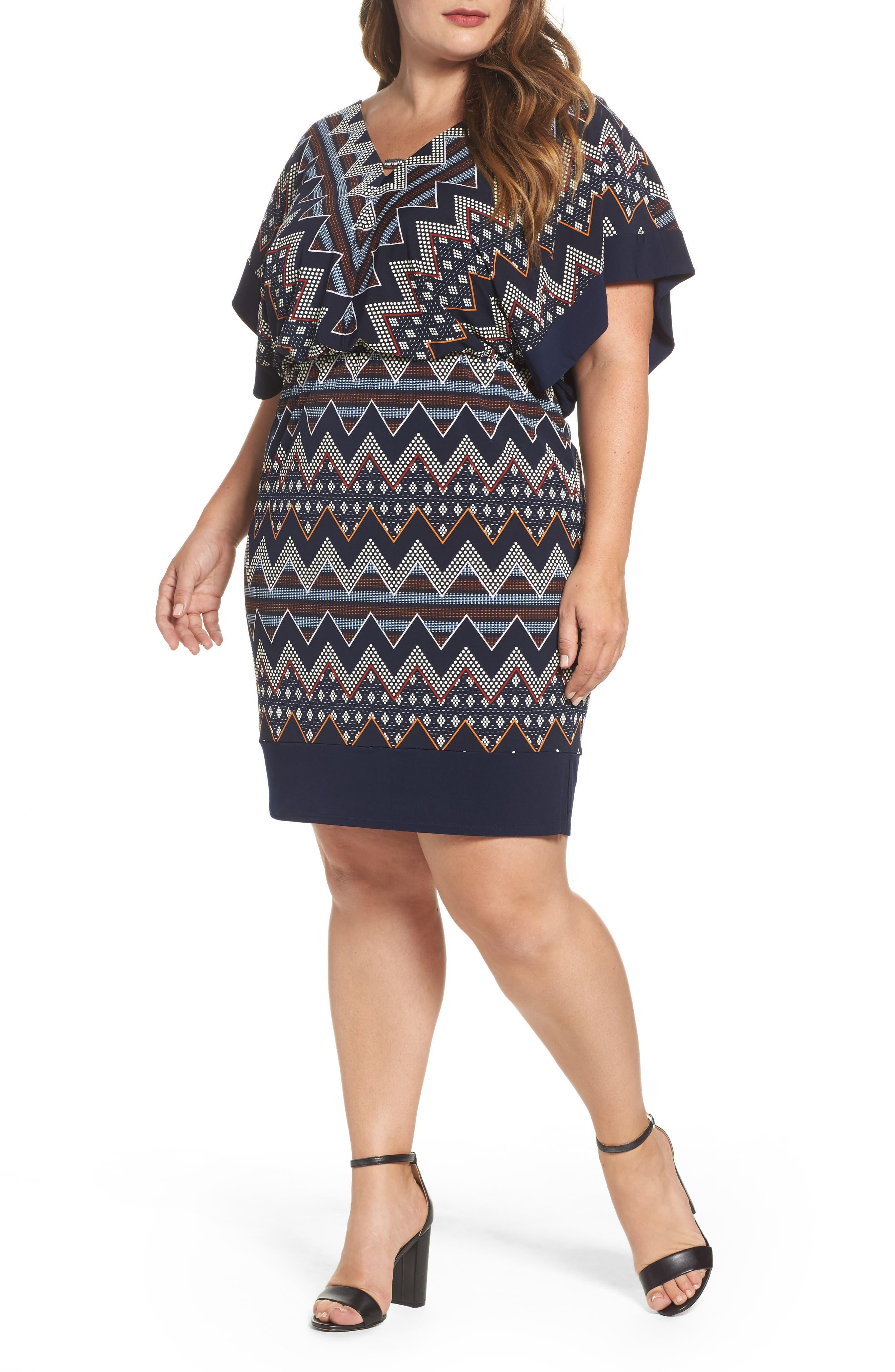 Main Image - Sangria Puff Print Blouson Dress (Plus Size)