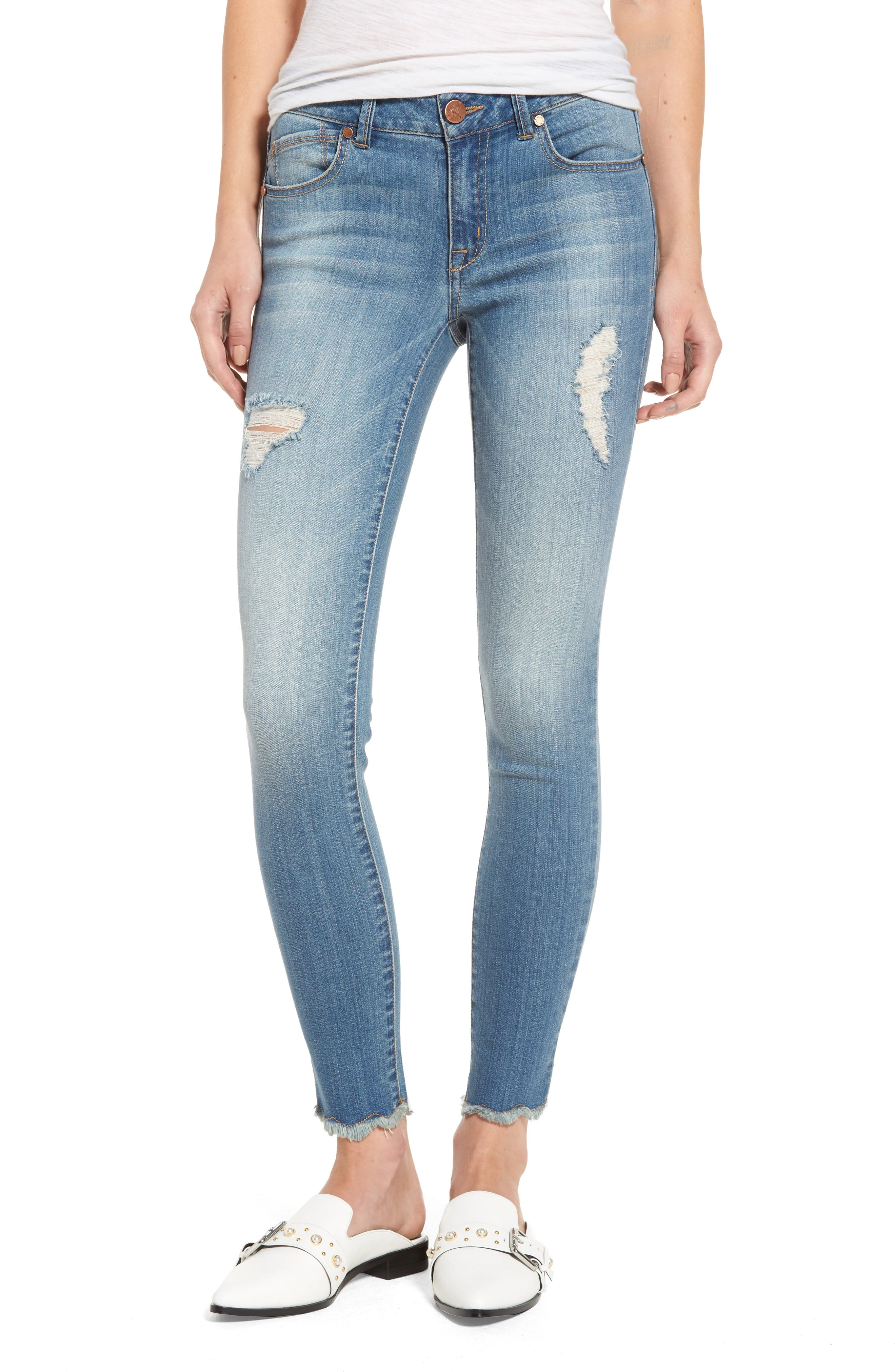 1822 Denim Raw Edge Skinny Jeans (Wesley)