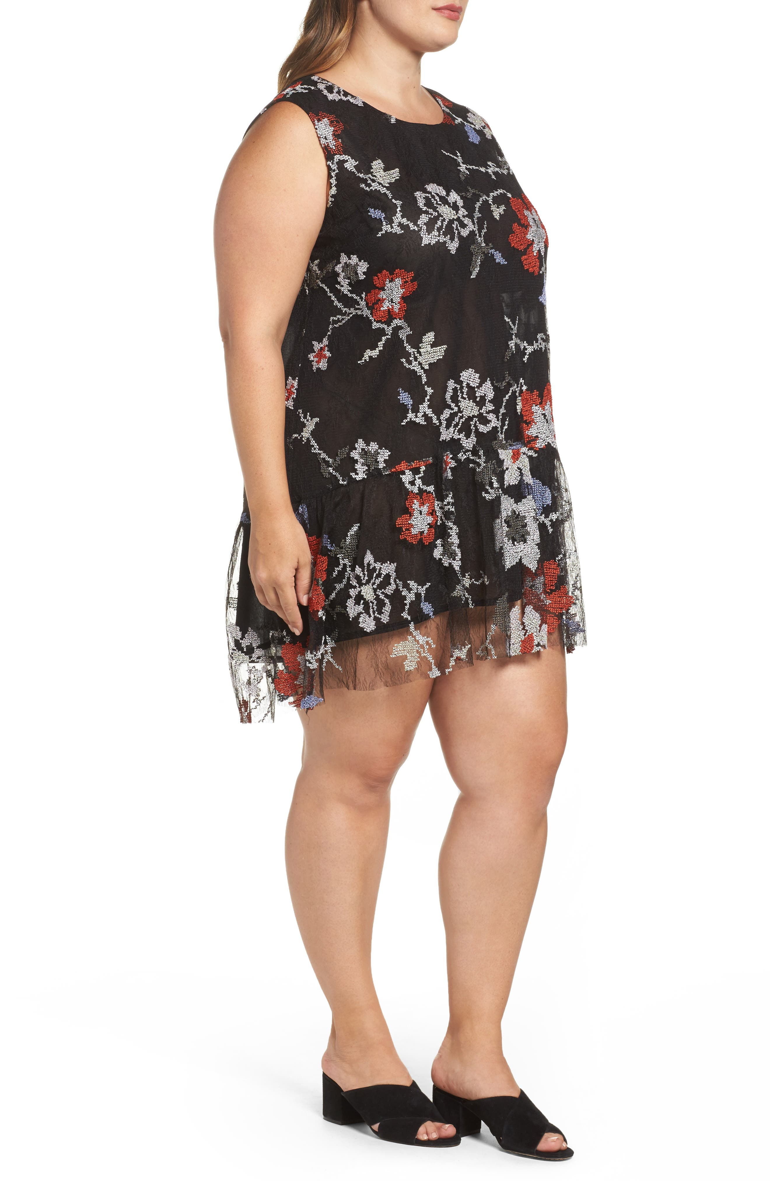 Alternate Image 3  - ELVI Abstract Floral Embroidery Sleeveless Dress (Plus Size)