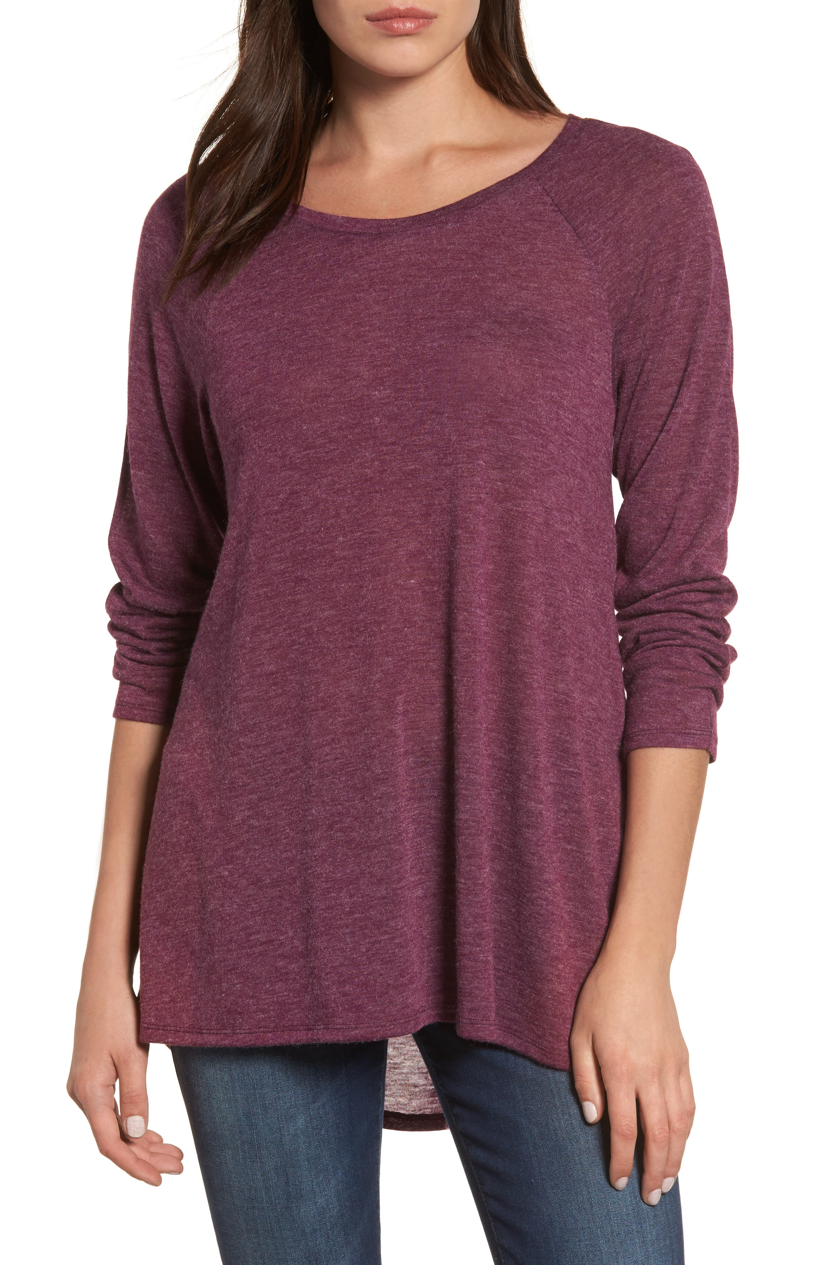 High/Low Tunic Sweatshirt,                             Main thumbnail 1, color,                             Mulberry