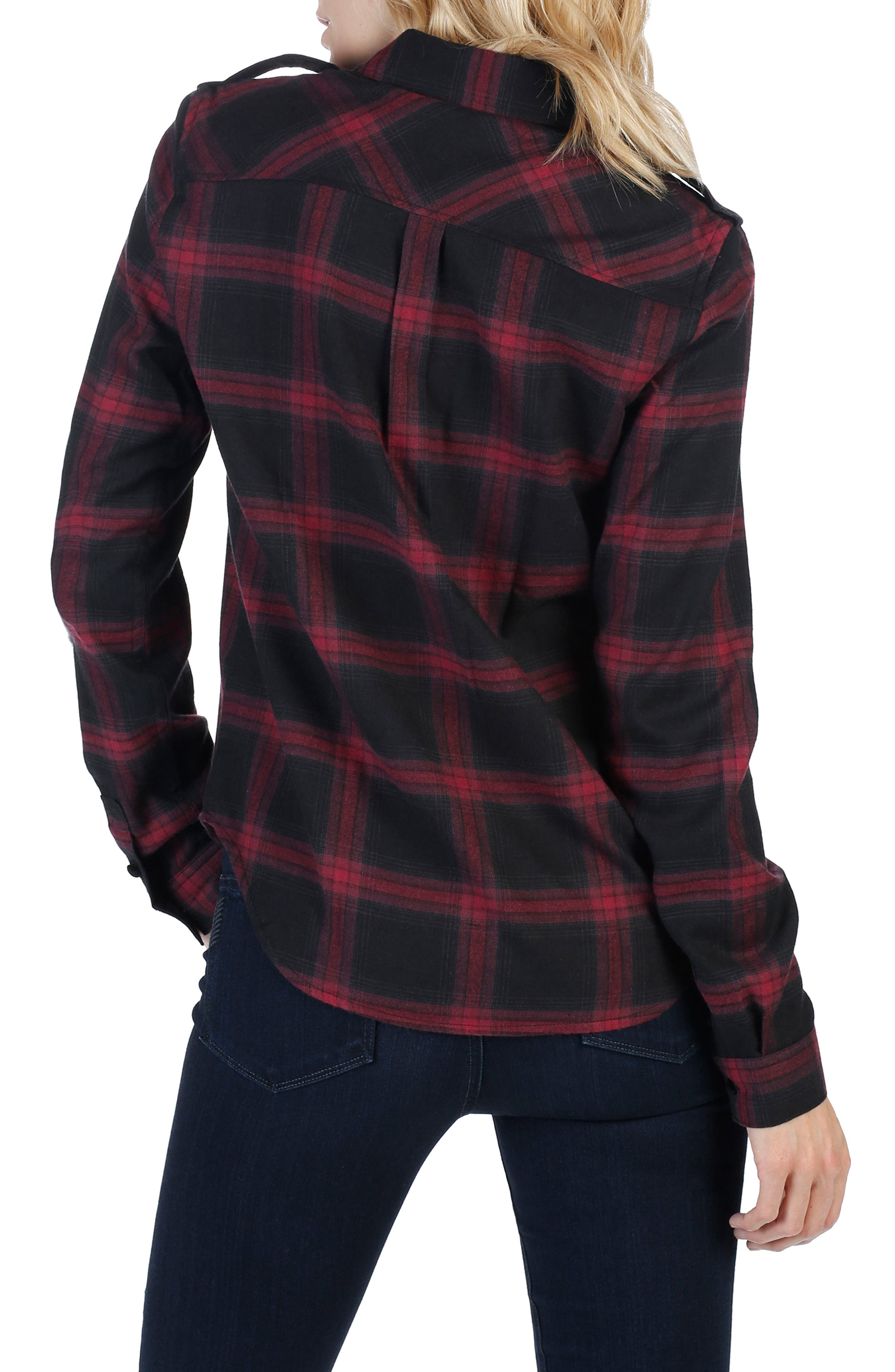 Adilene Plaid Shirt,                             Alternate thumbnail 2, color,                             True Black/ Dark Magenta