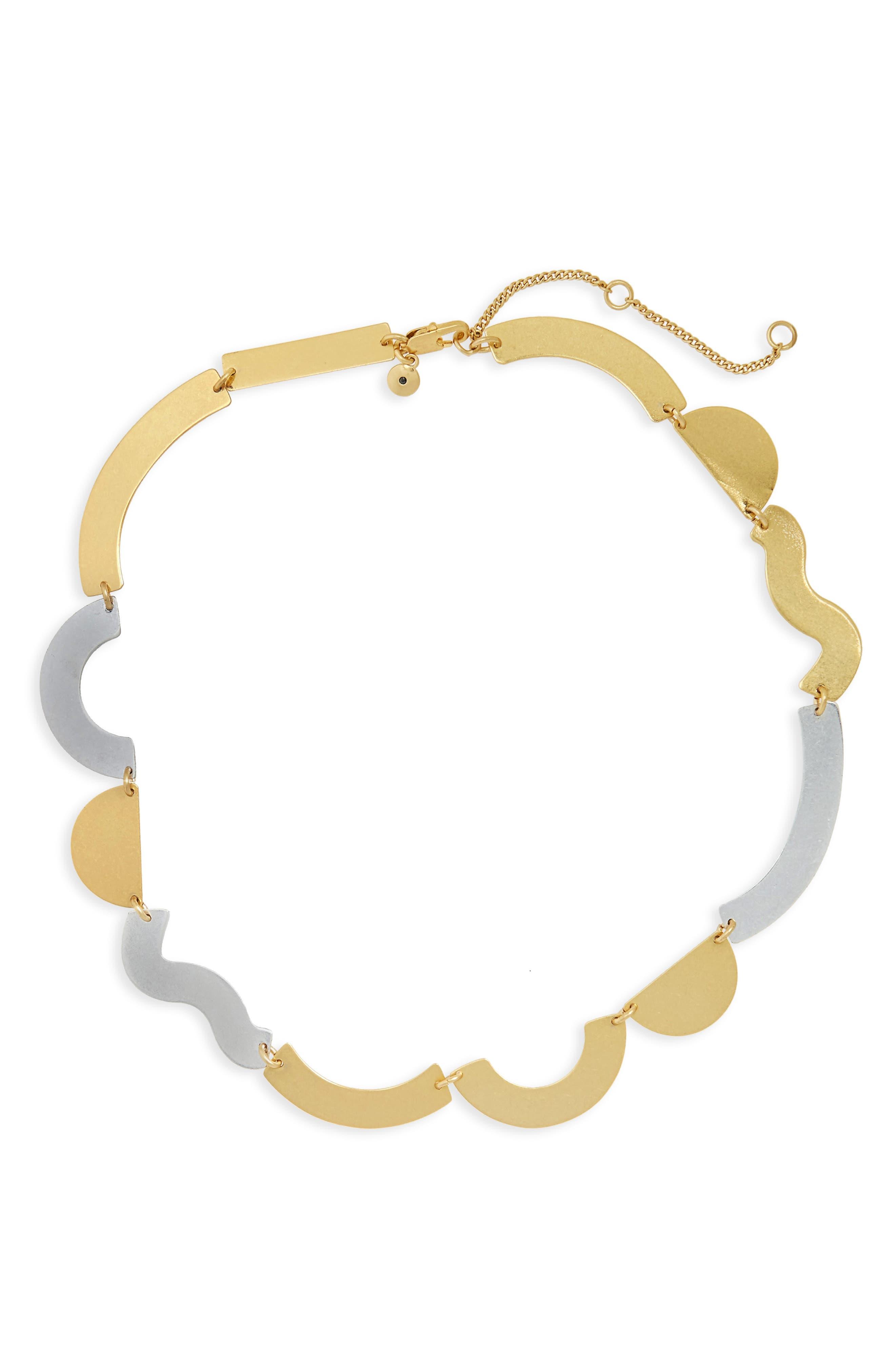 Flatform Collar Necklace,                         Main,                         color, Mixed Metal