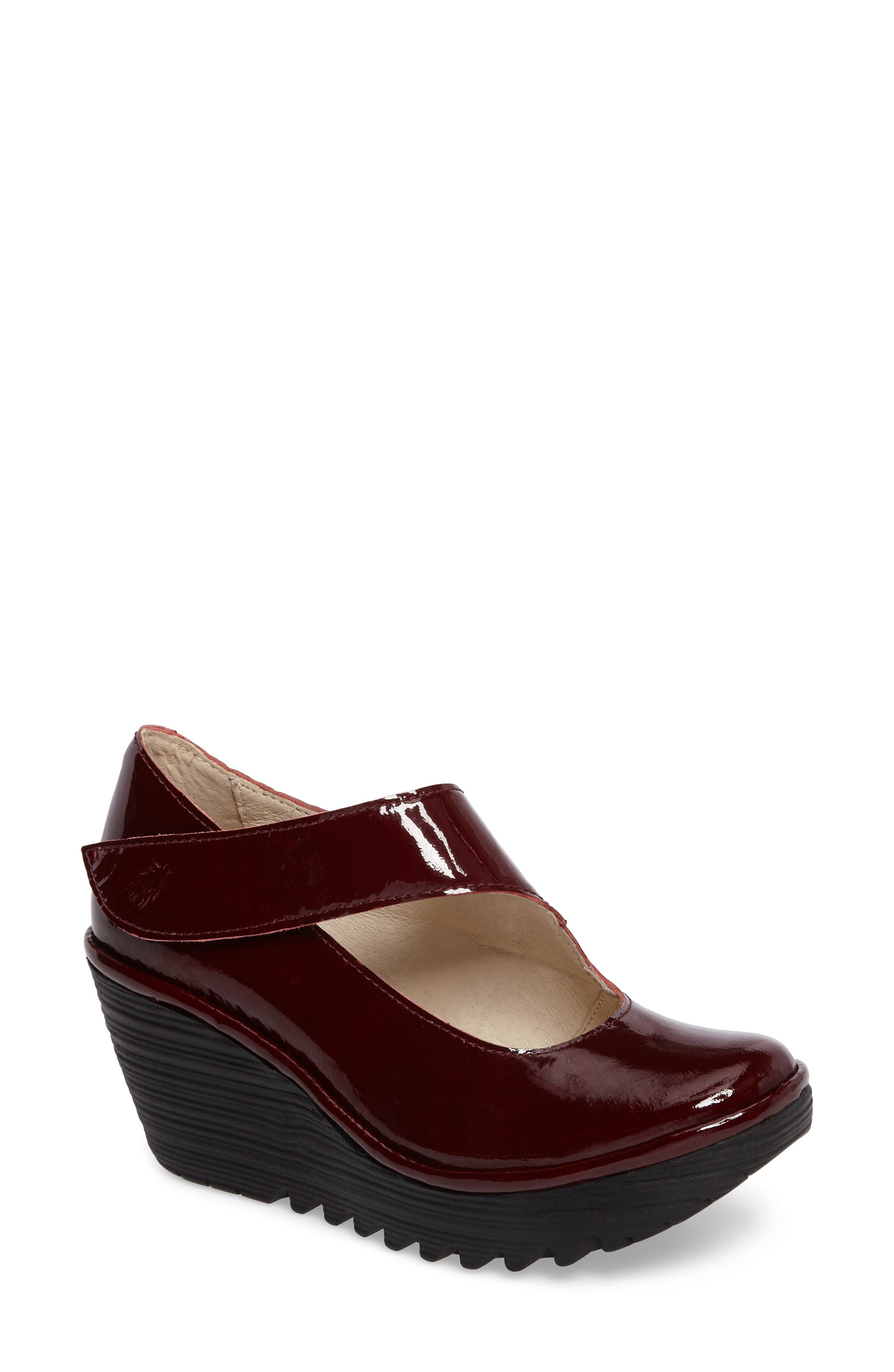 'Yasi' Wedge Pump,                             Main thumbnail 1, color,                             Cordoba Red Leather