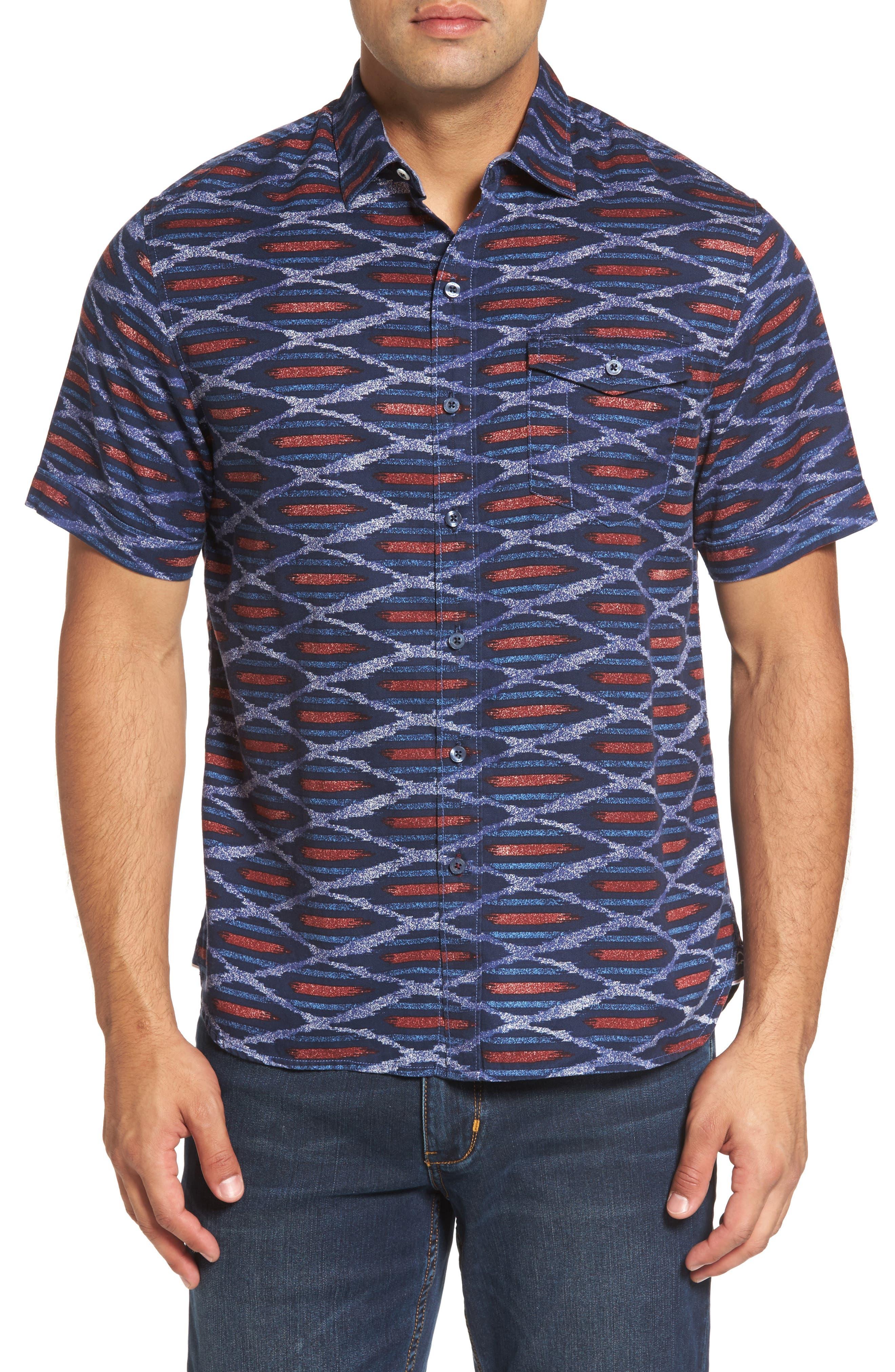 Island Ikat Standard Fit Geo Print Woven Shirt,                         Main,                         color, Bering Blue