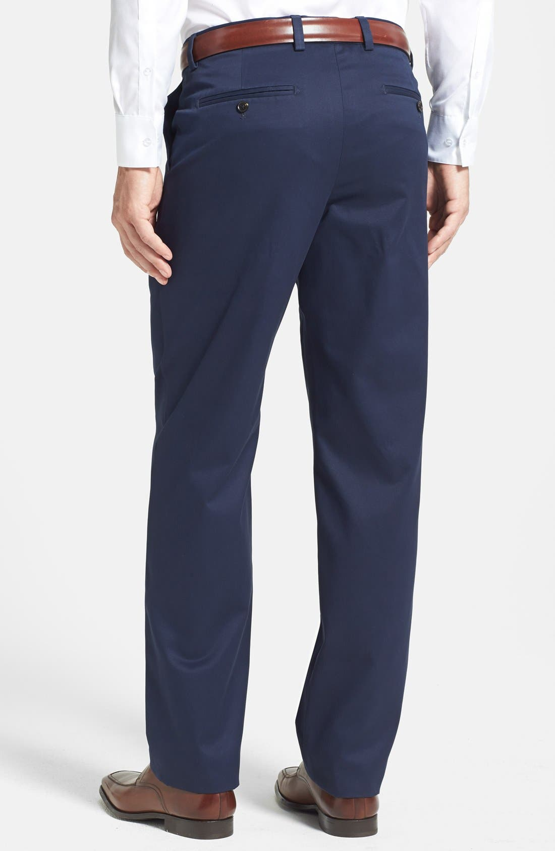 'Classic' Smartcare<sup>™</sup> Relaxed Fit Flat Front Cotton Pants,                             Alternate thumbnail 2, color,                             Navy
