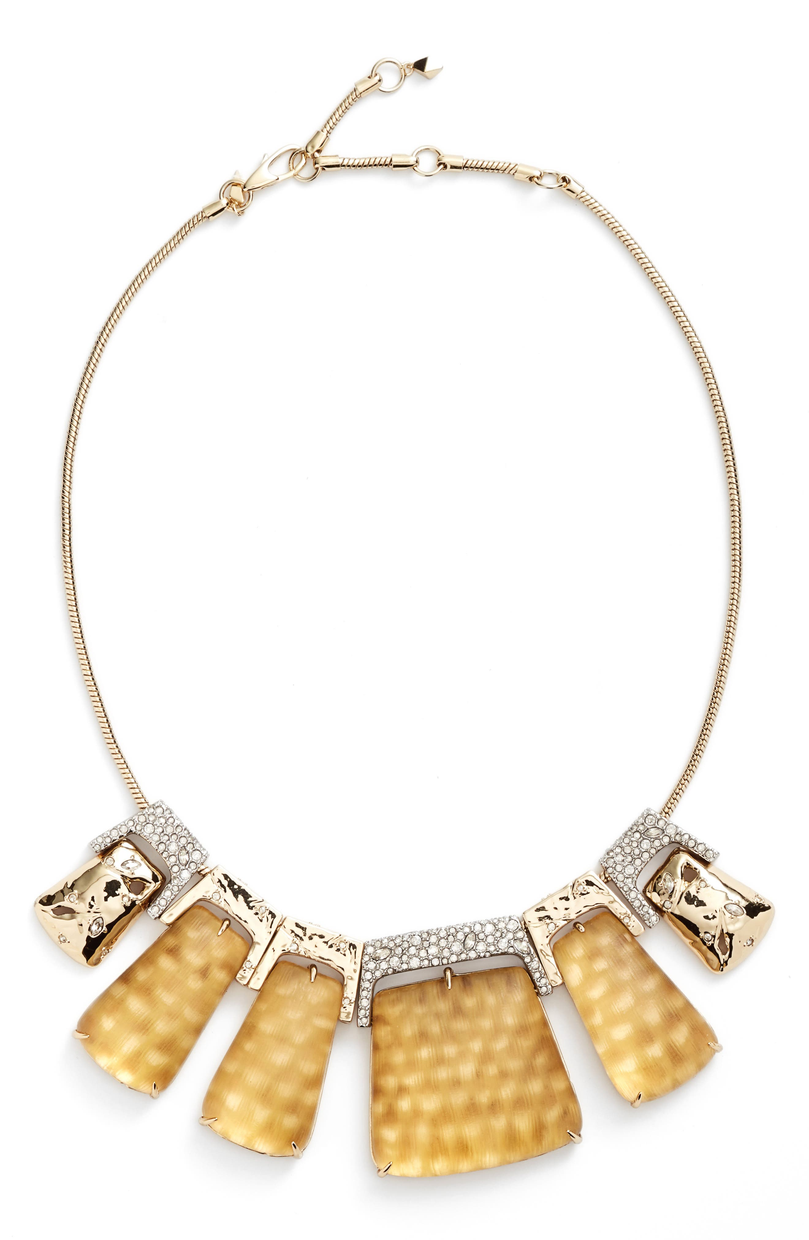 Lucite<sup>®</sup> Crystal Accent Crystal Collar Necklace,                         Main,                         color, Gold Snake Print