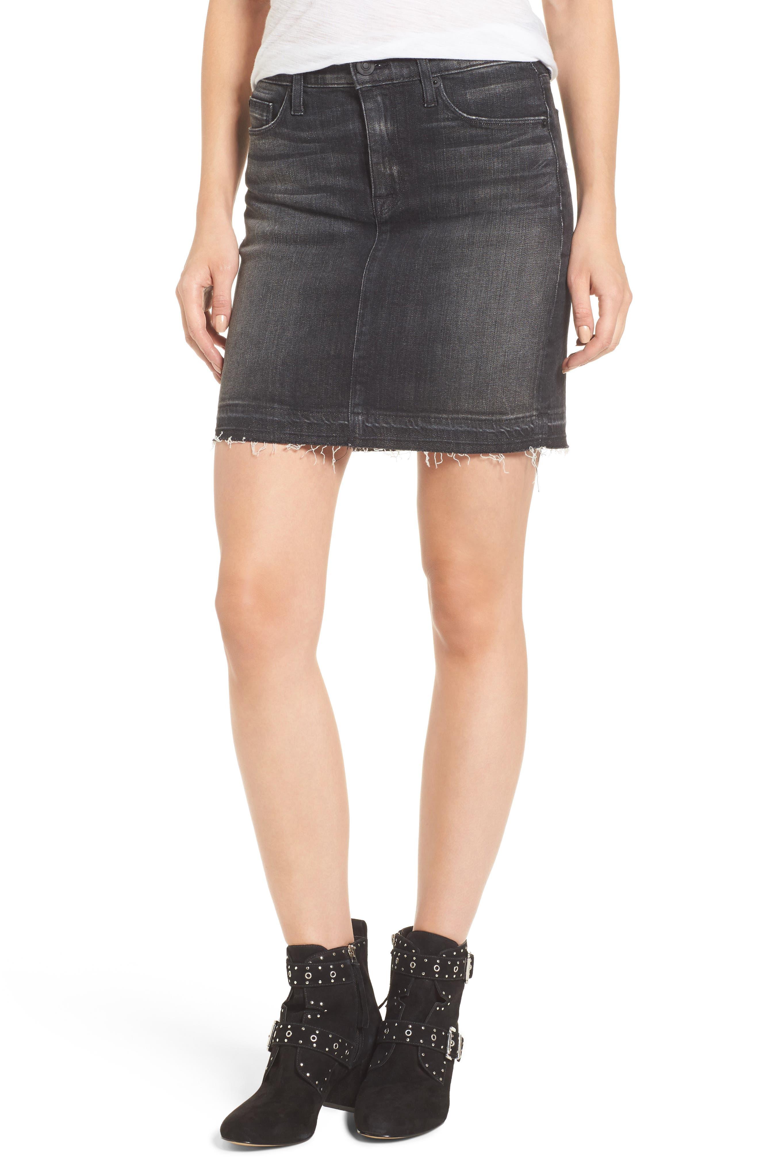 Robbie Cutoff Denim Miniskirt,                             Main thumbnail 1, color,                             Black