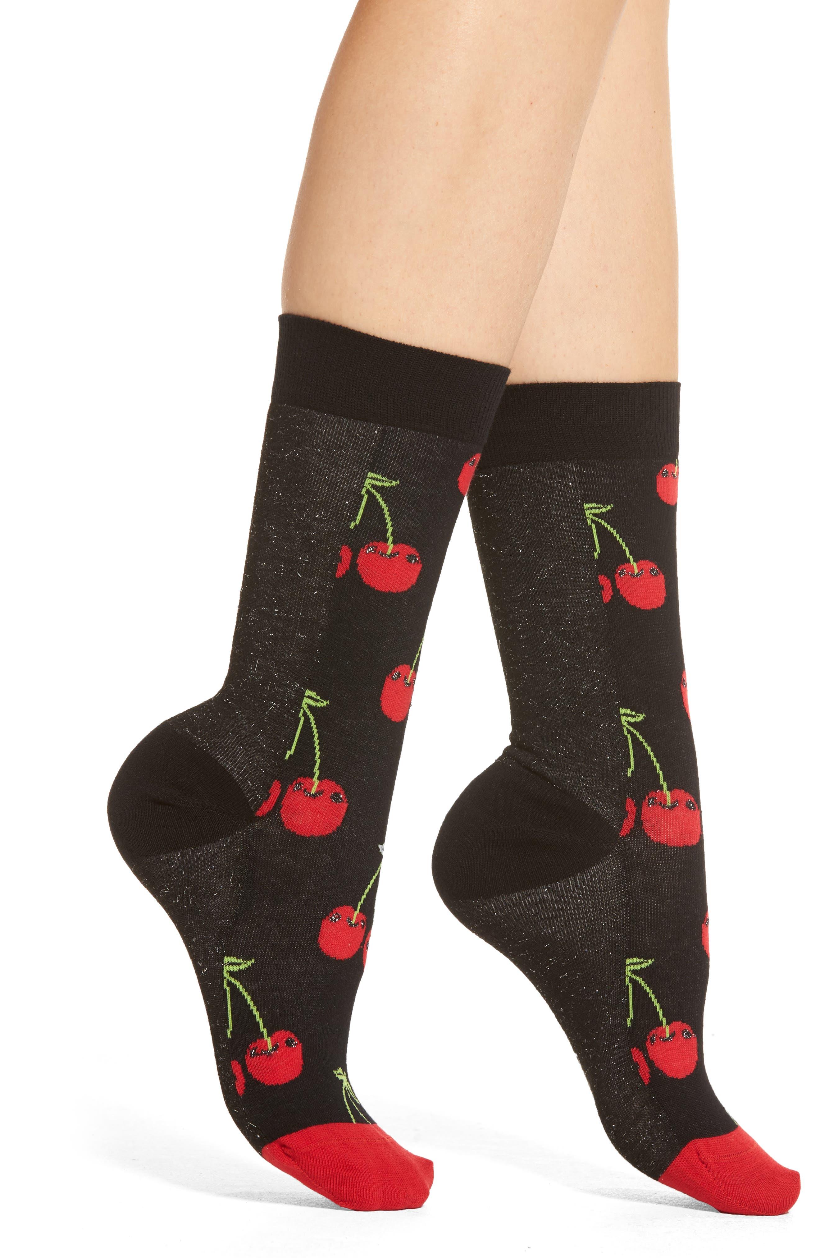 Cherry Crew Socks,                         Main,                         color, Black/ Red