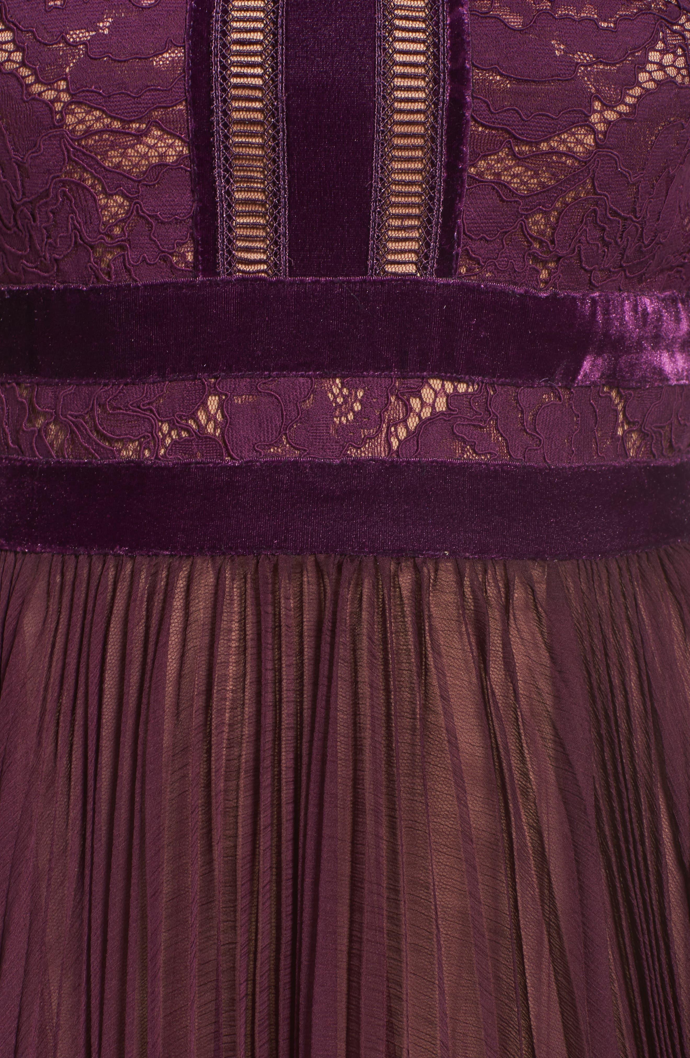 Alternate Image 5  - Tadashi Shoji Pleated Lace & Chiffon Gown
