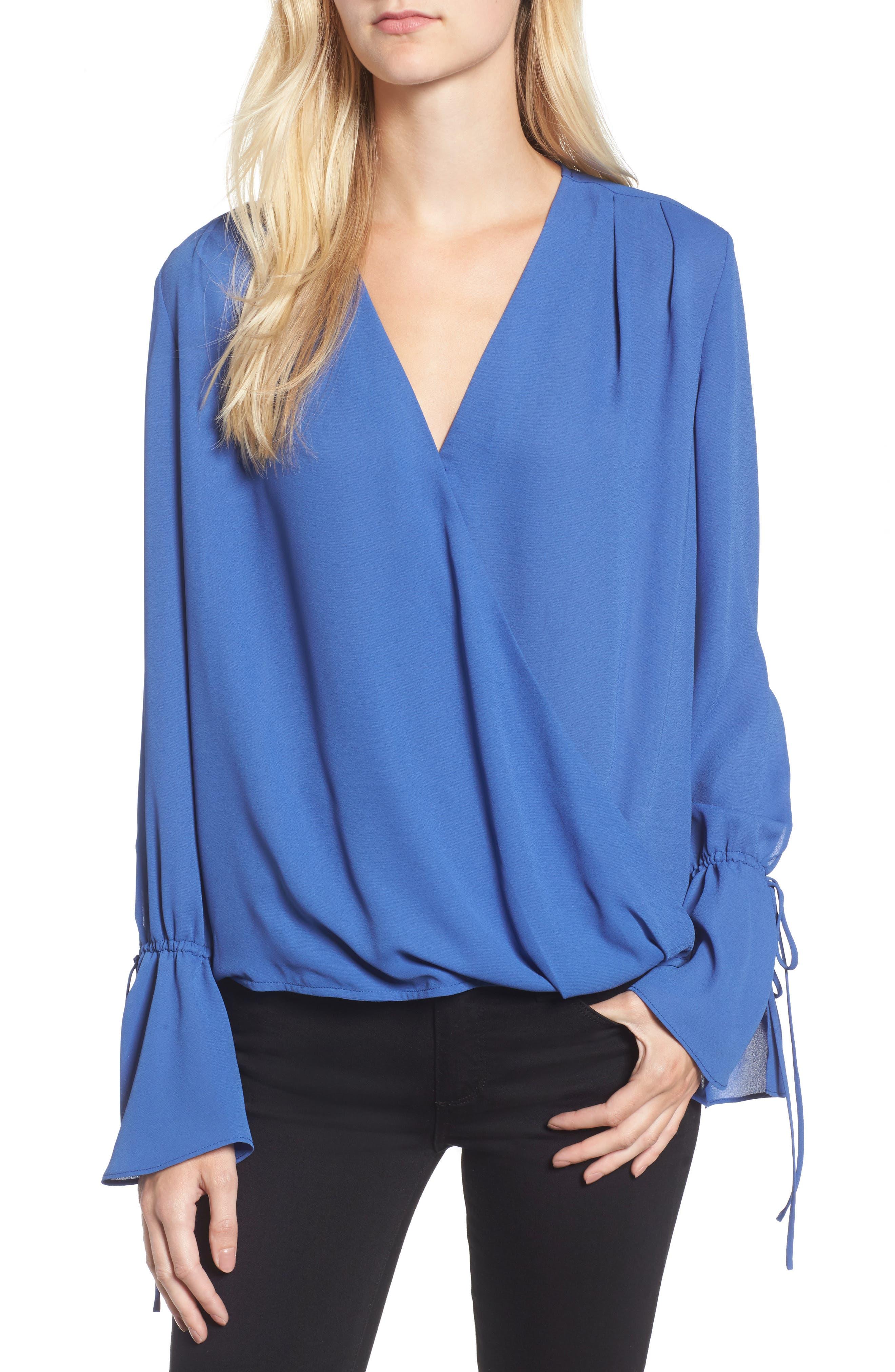 Surplice Tie Sleeve Top,                         Main,                         color, Blue Marine
