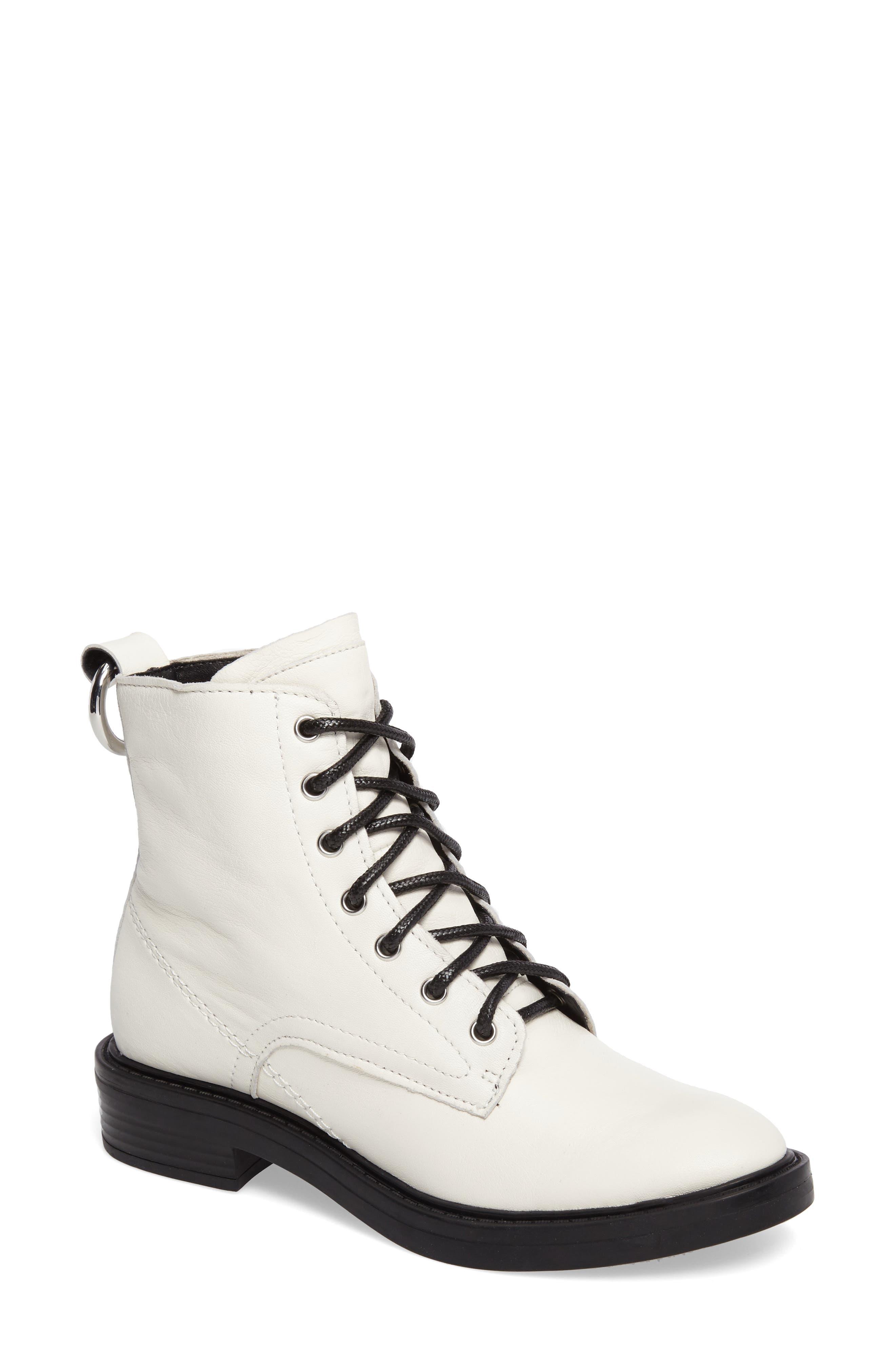 Combat Boot,                         Main,                         color, Off White Lea