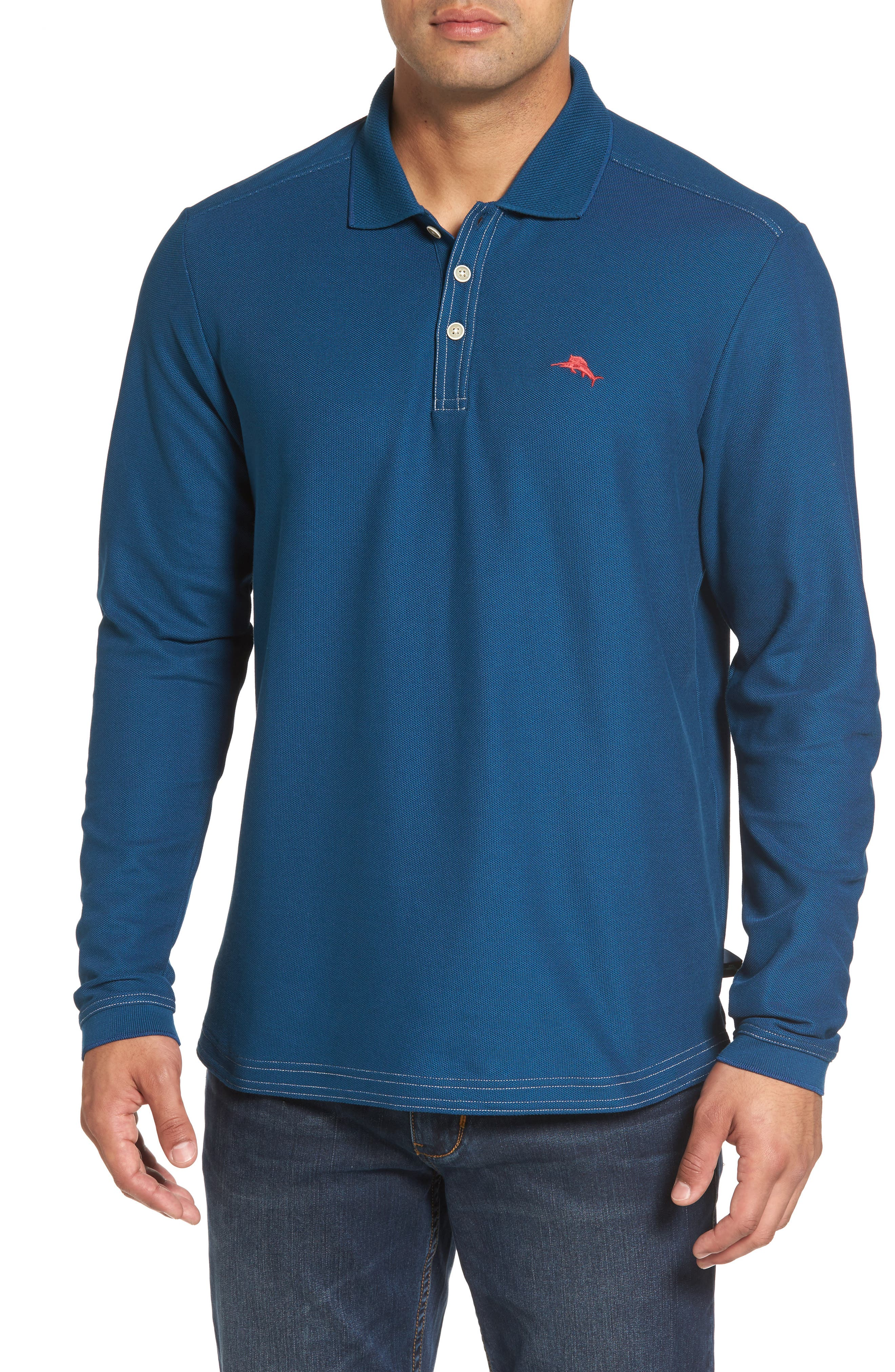 Emfielder Long Sleeve Polo,                             Main thumbnail 1, color,                             Slate Teal