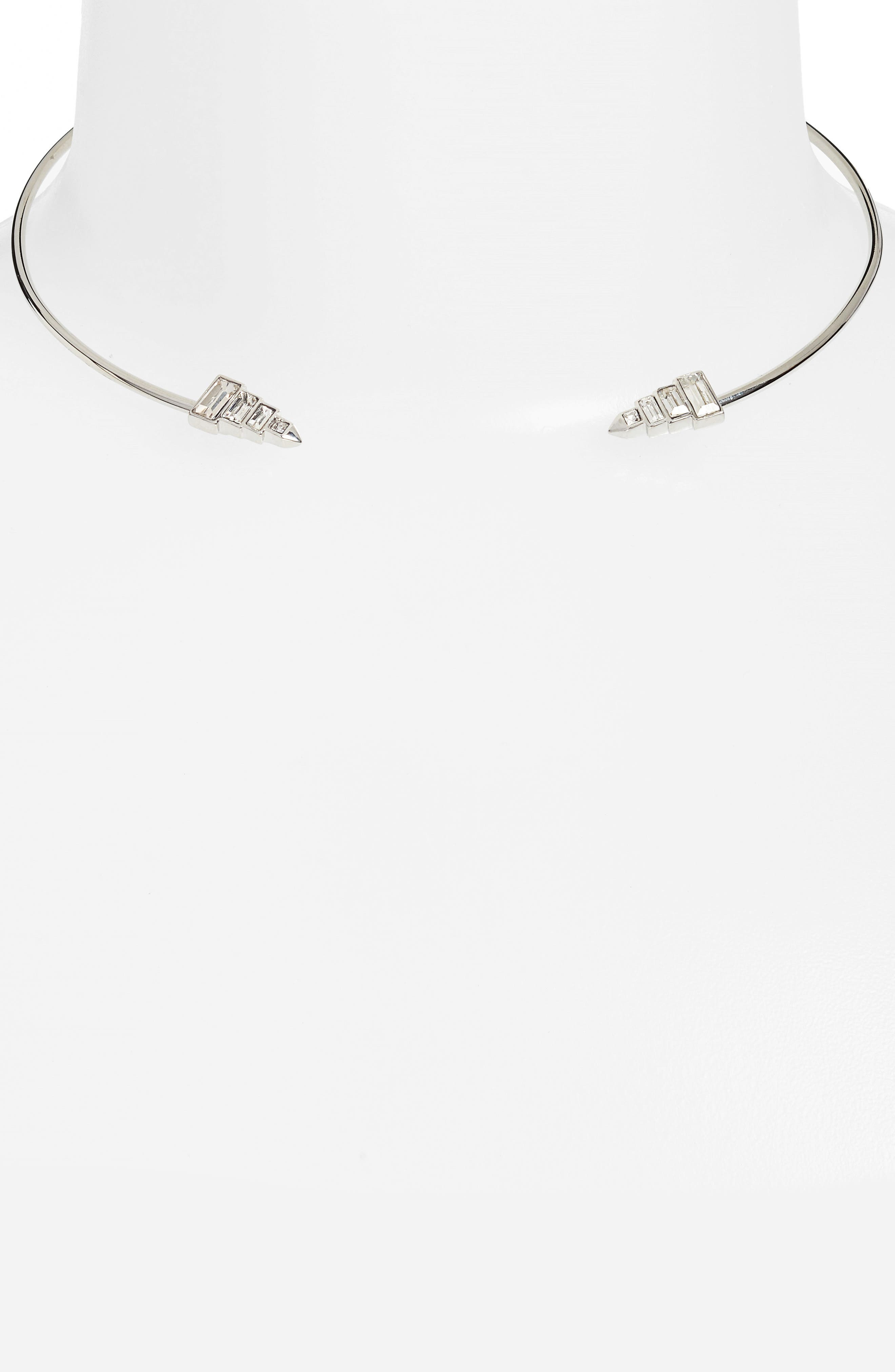 Open Collar Necklace,                             Alternate thumbnail 2, color,                             Clear/ Silver