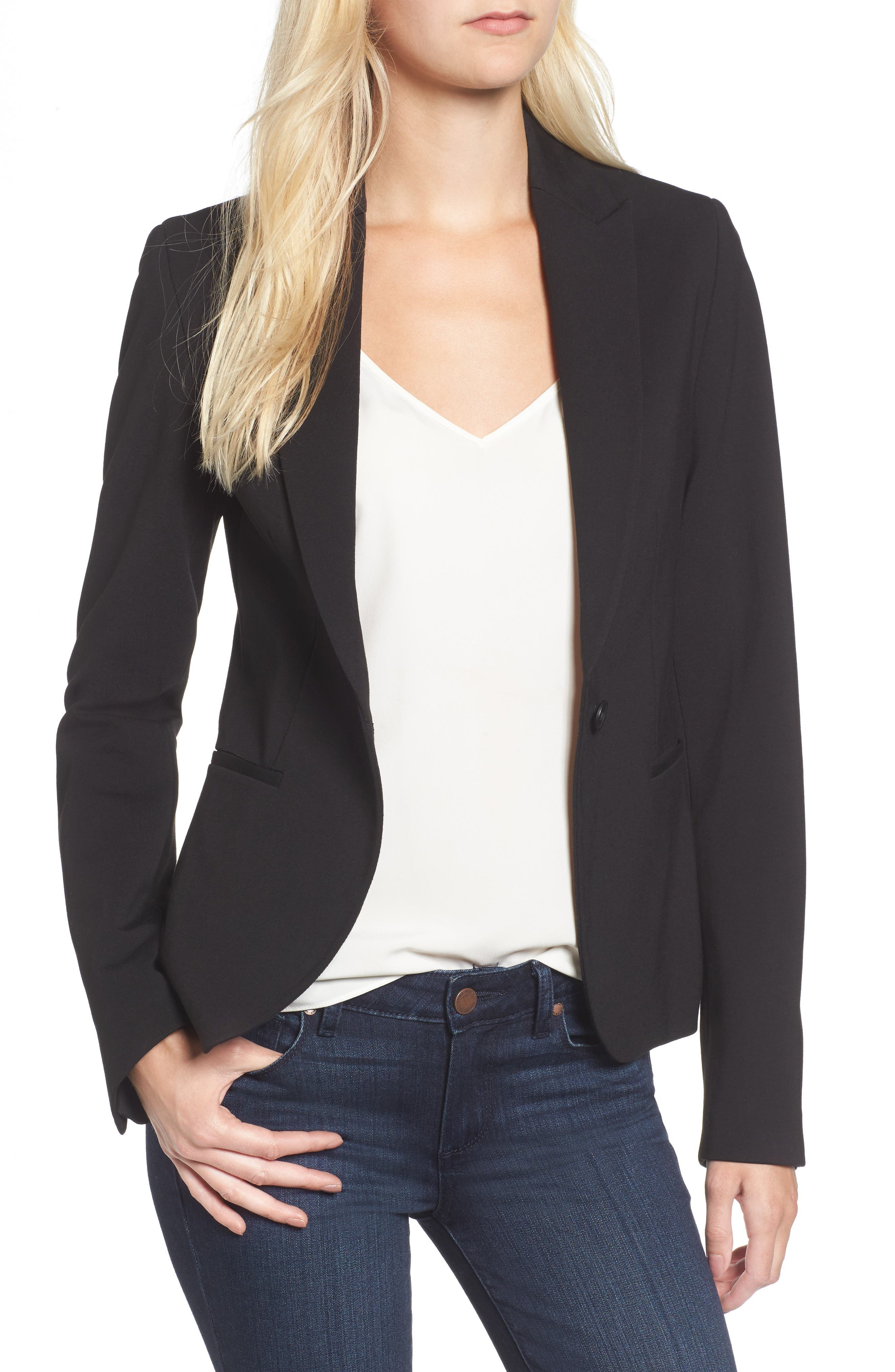 C-Suite Ponte Blazer,                             Main thumbnail 1, color,                             Black