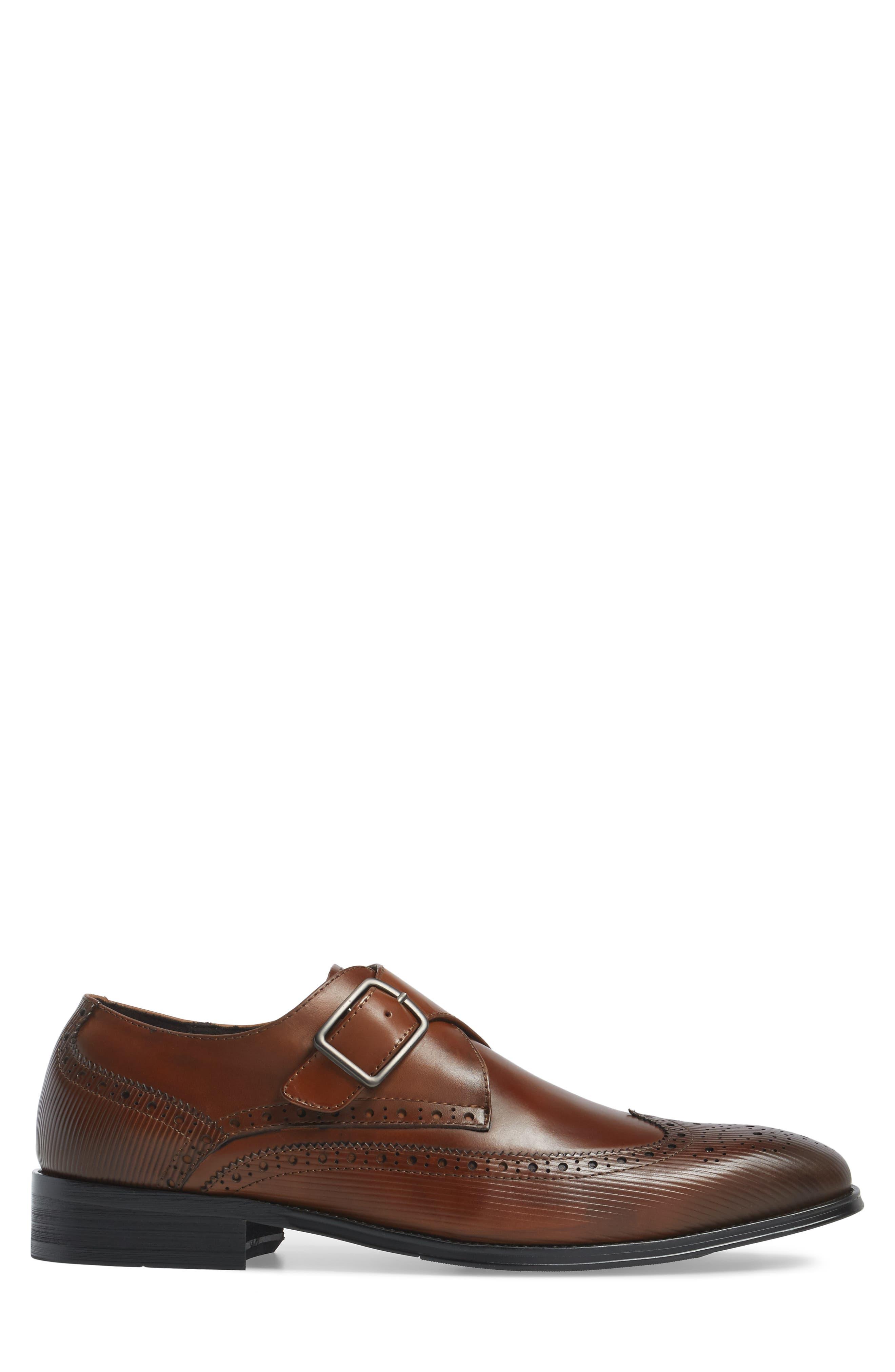 Design Monk Strap Shoe,                             Alternate thumbnail 3, color,                             Cognac Leather