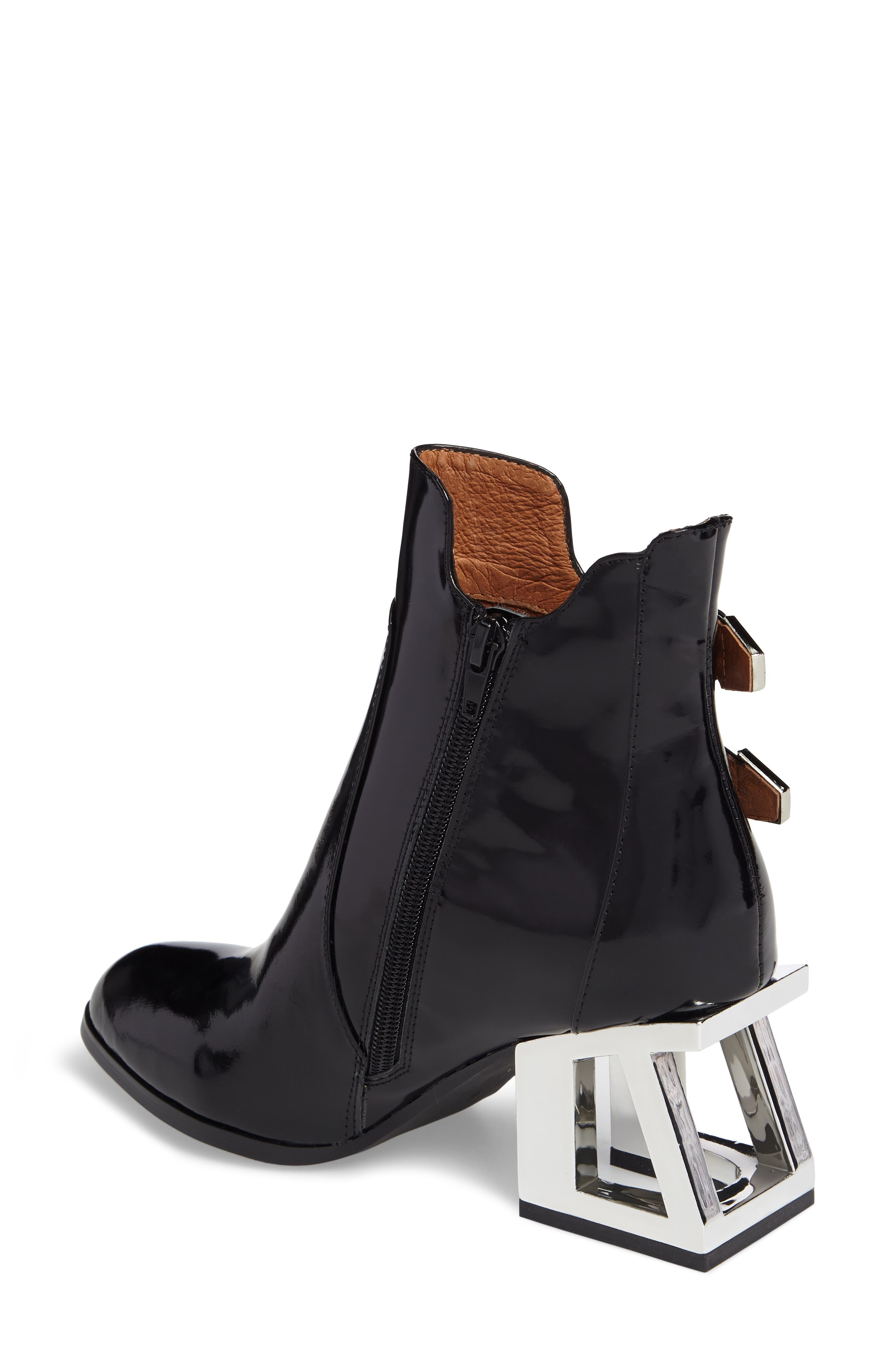 Edmund Cage Heel Bootie,                             Alternate thumbnail 2, color,                             Black Box Silver Leather