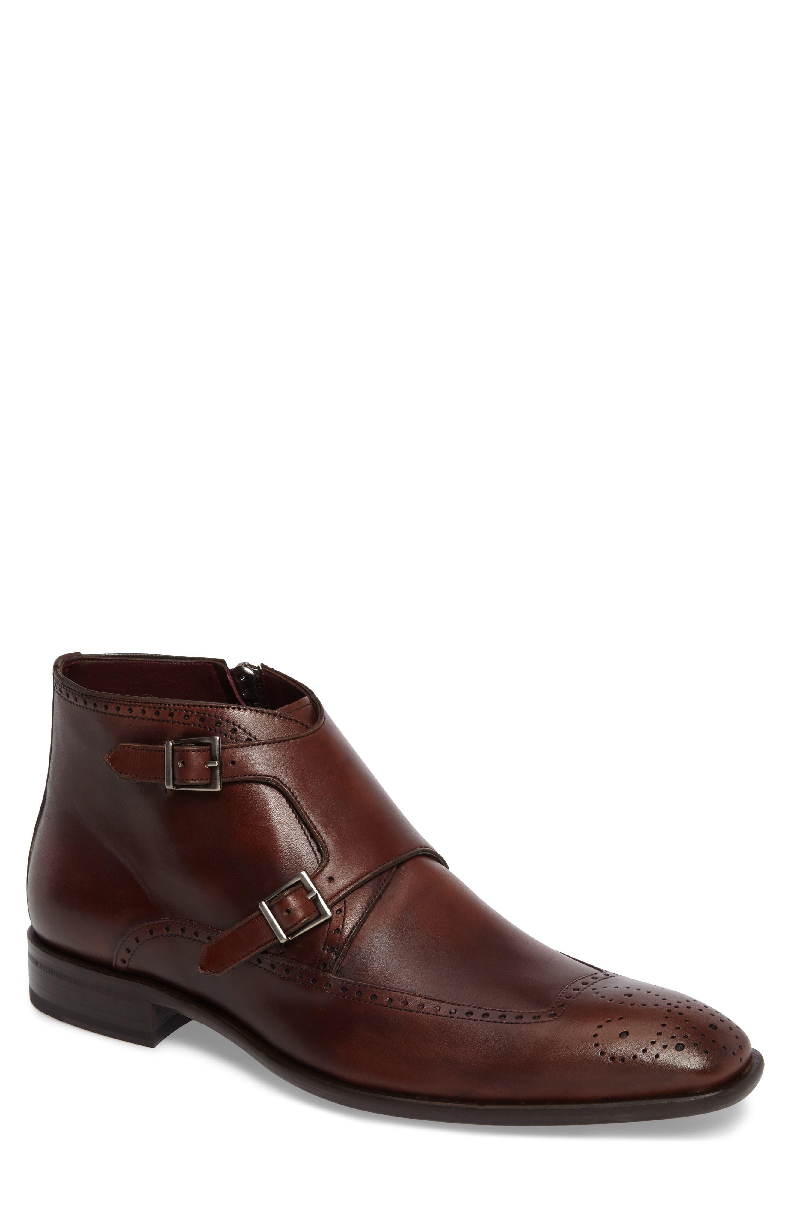Taberna Double Monk Strap Boot,                         Main,                         color, Cognac Leather