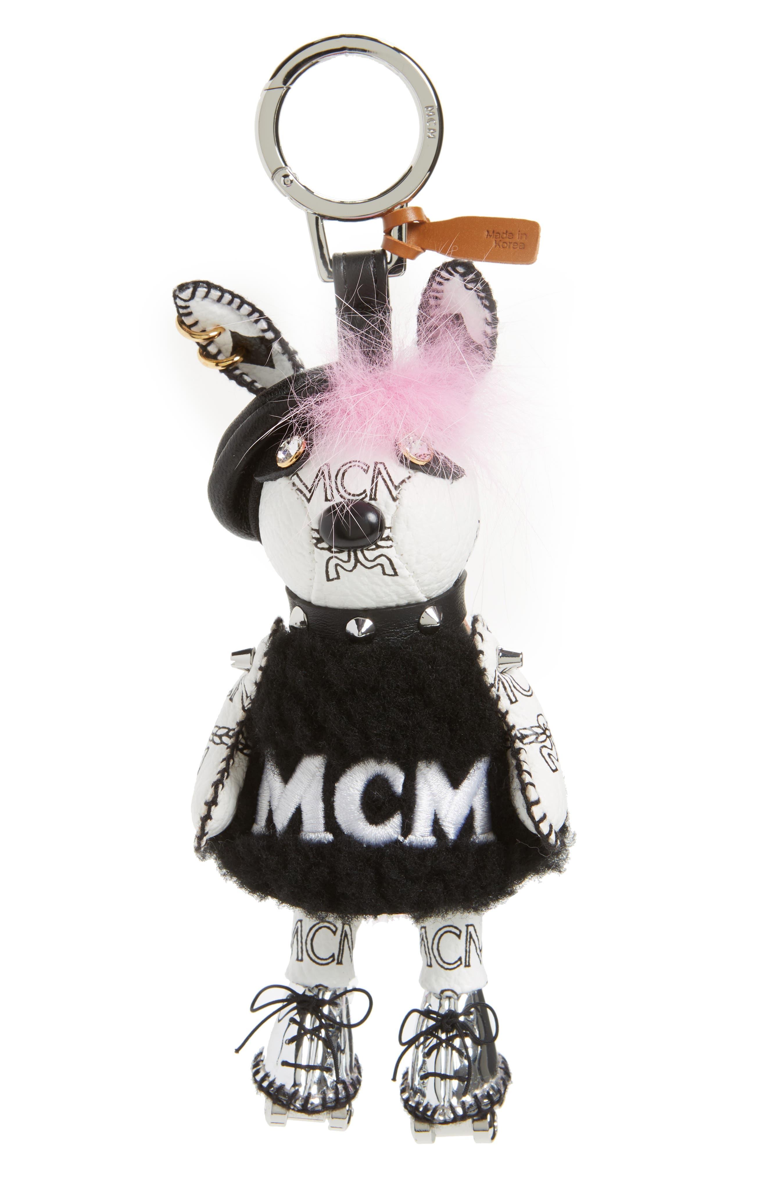 Roller Girl Genuine Rabbit Fur Bag Charm,                         Main,                         color, White