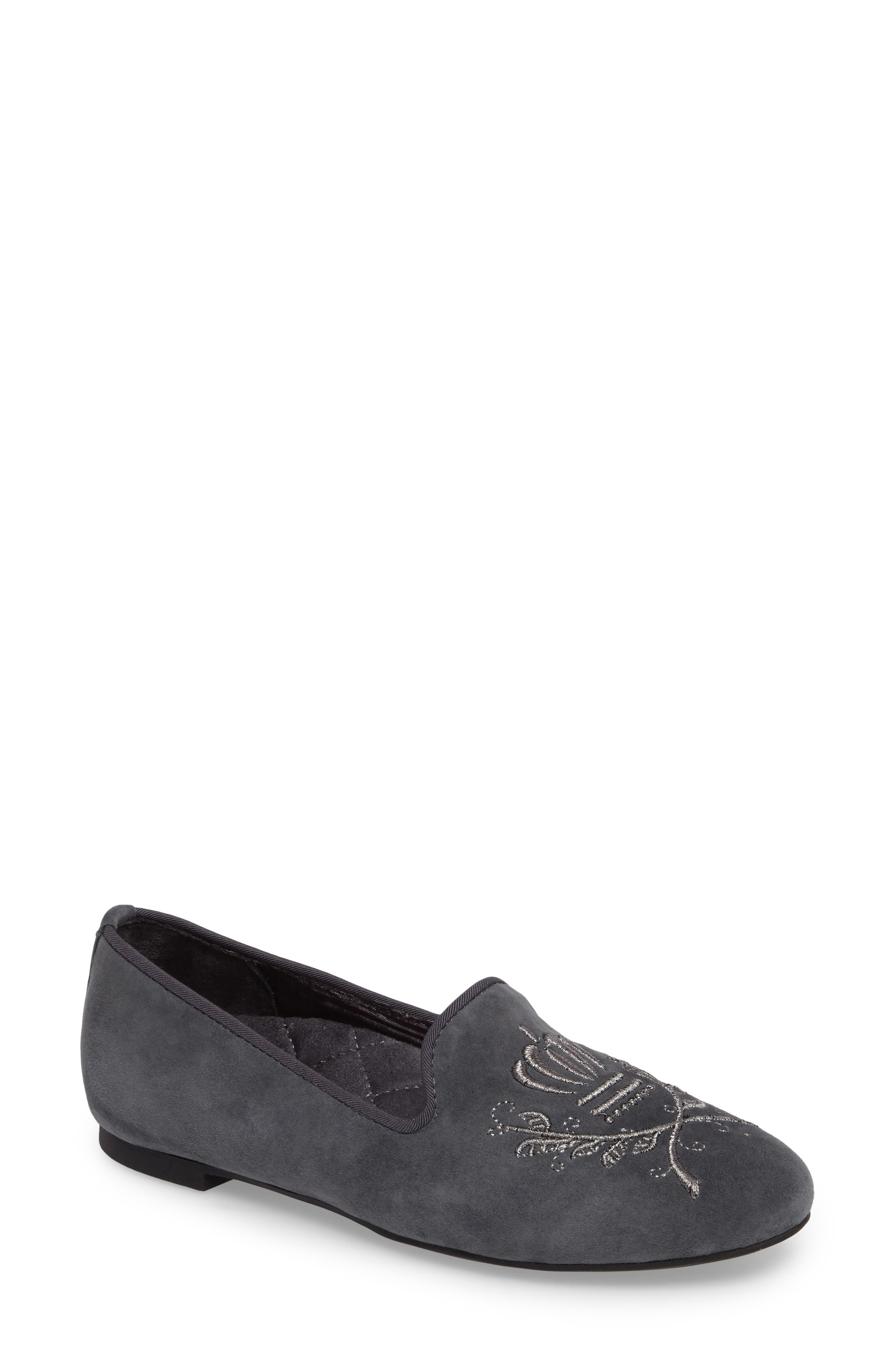 Romi Embroidered Flat,                         Main,                         color, Dark Grey Suede