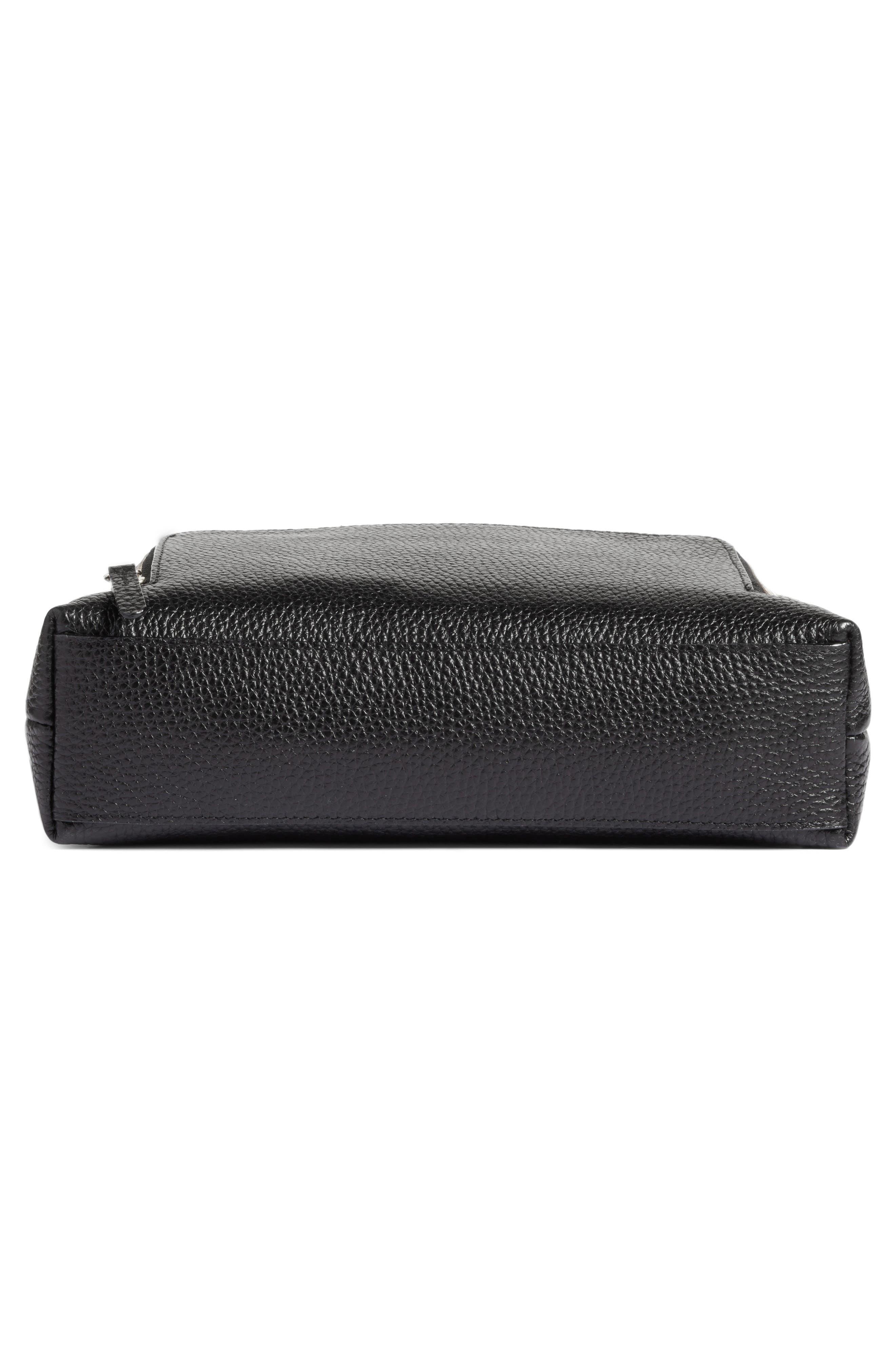 Pebbled Leather Crossbody Bag,                             Alternate thumbnail 6, color,                             Black