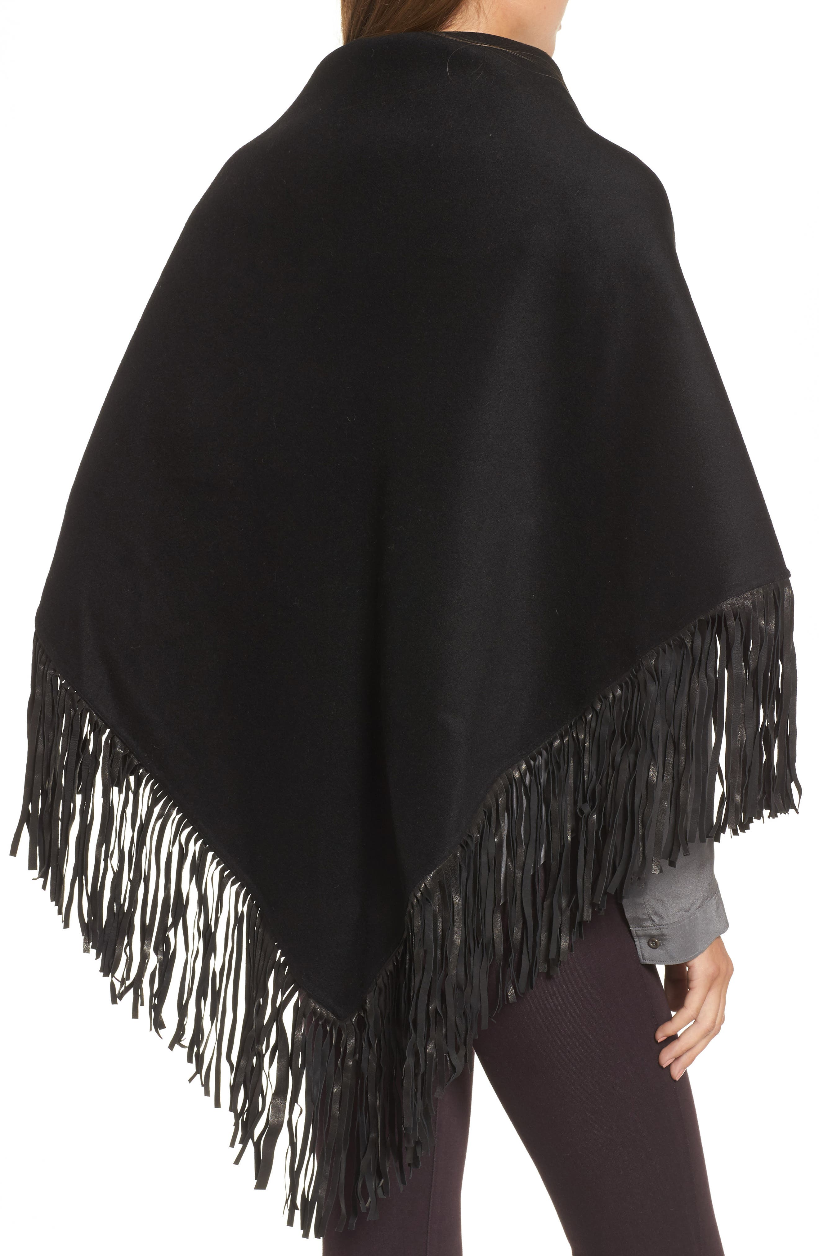 Alternate Image 2  - Mackage Fida Leather Fringe Shawl