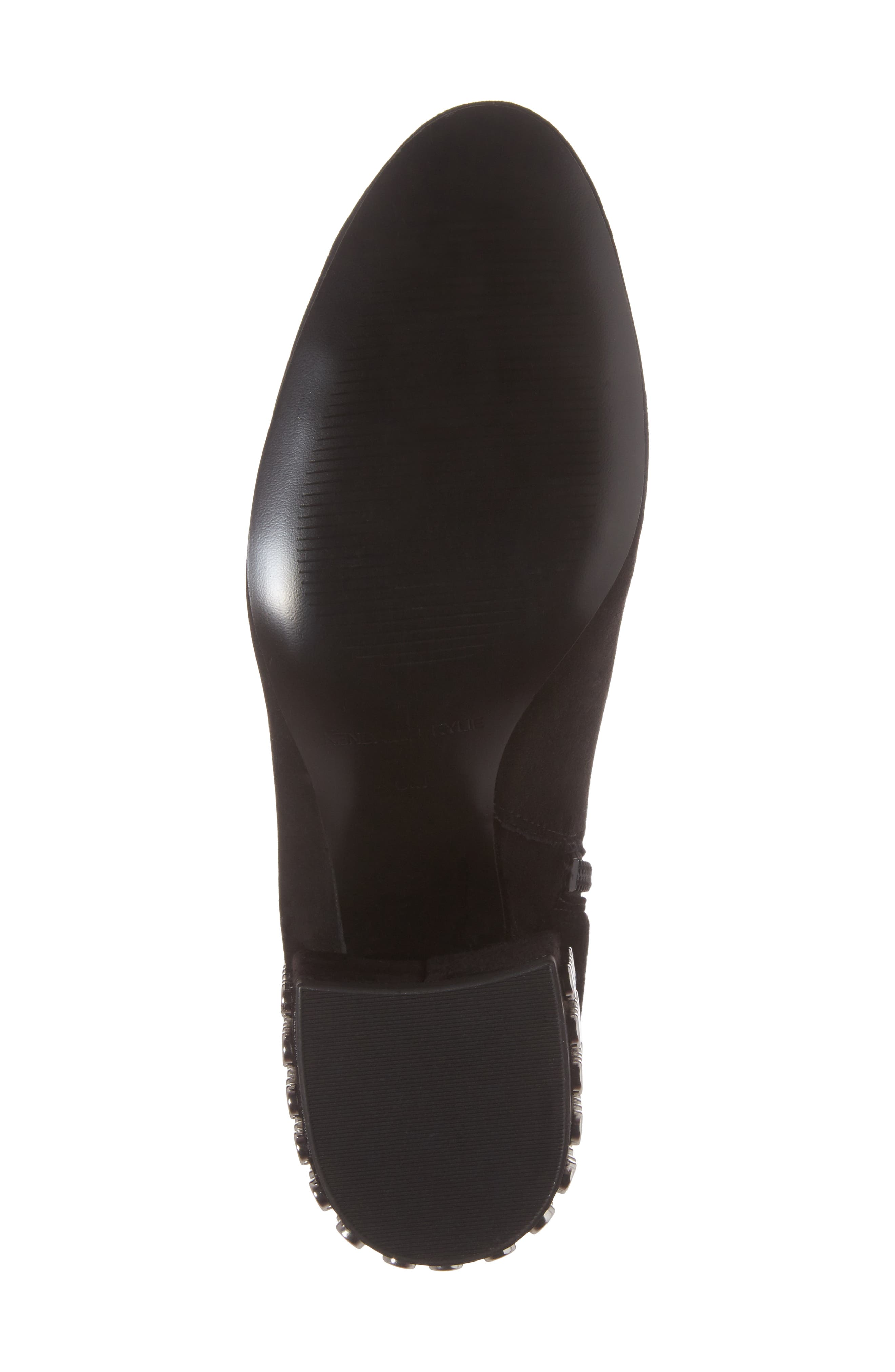 Blythe Studded Heel Bootie,                             Alternate thumbnail 6, color,                             Black Suede