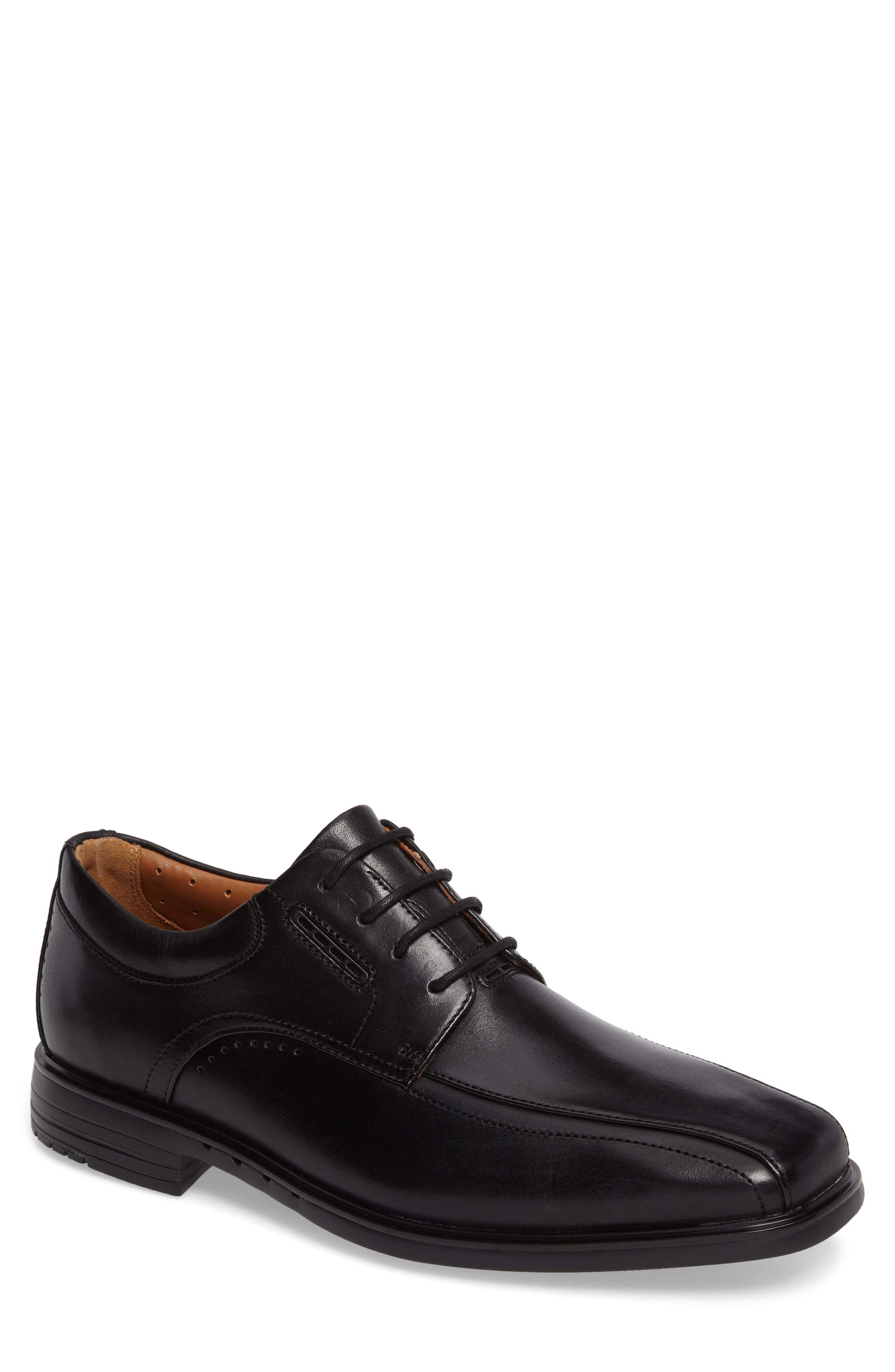 Un.Kenneth Bike Toe Oxford,                             Main thumbnail 1, color,                             Black Leather