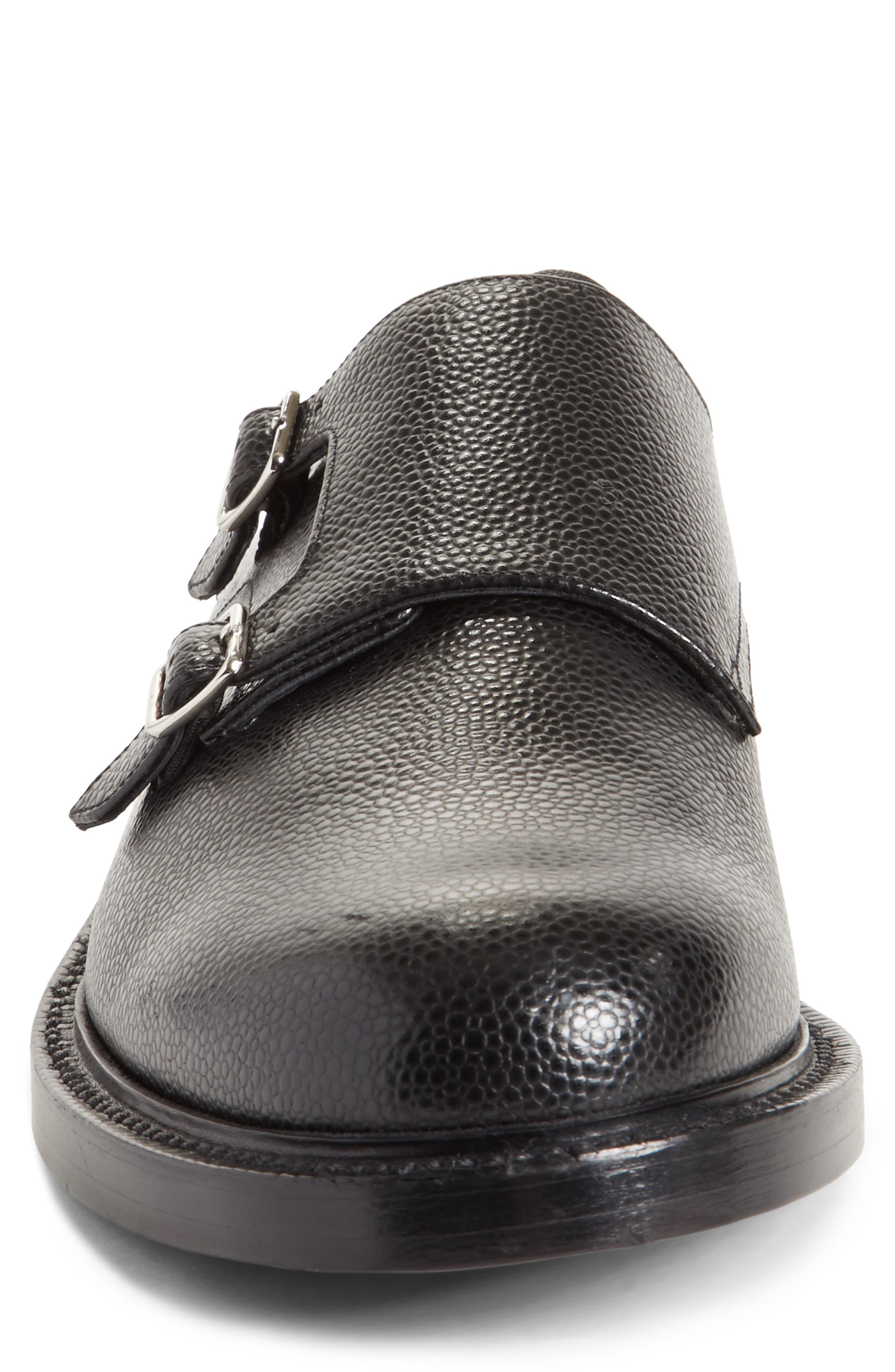 Hova Double Monk Strap Shoe,                             Alternate thumbnail 4, color,                             Black Leather