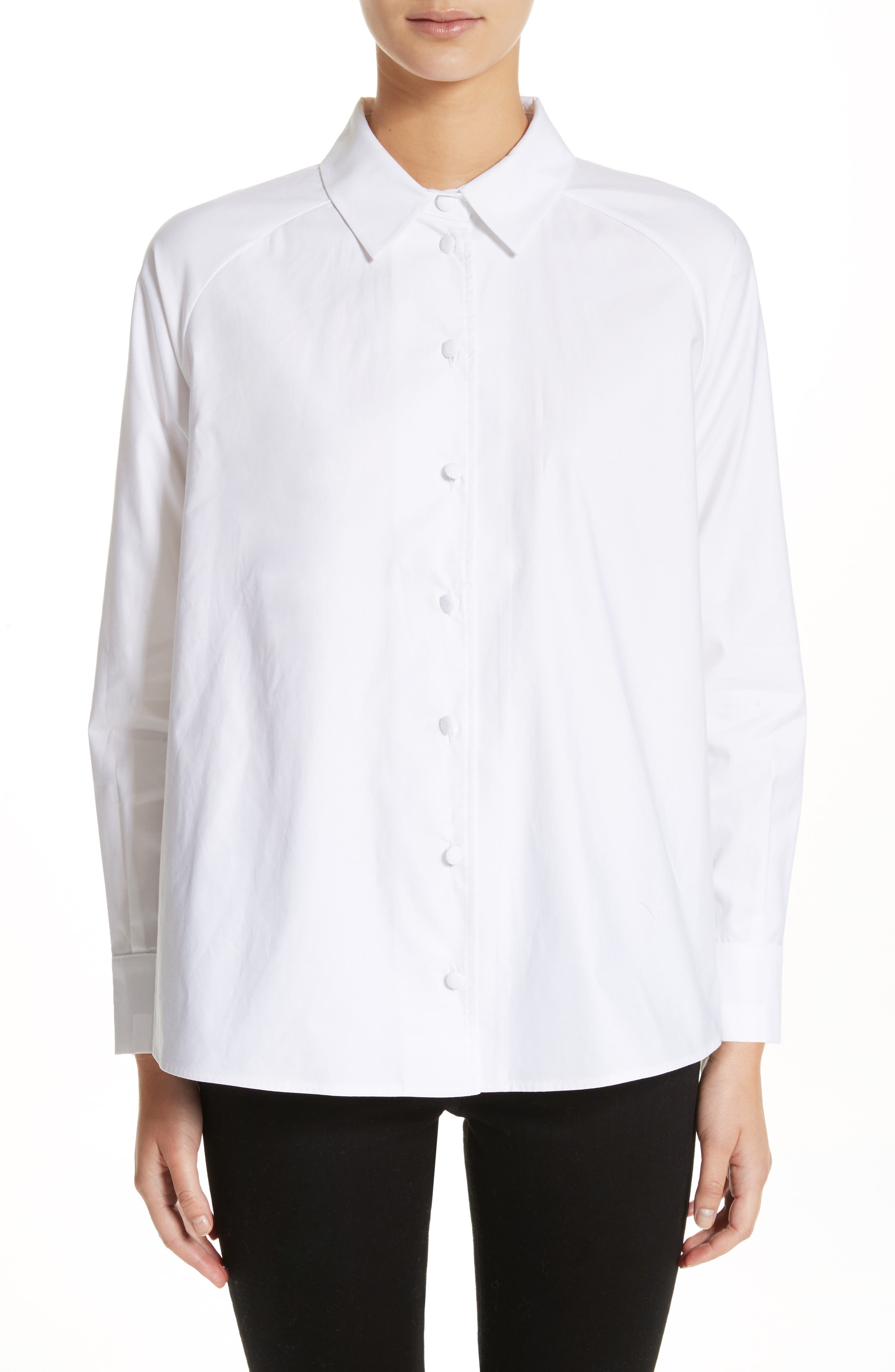 Cotton Poplin Top,                         Main,                         color, White