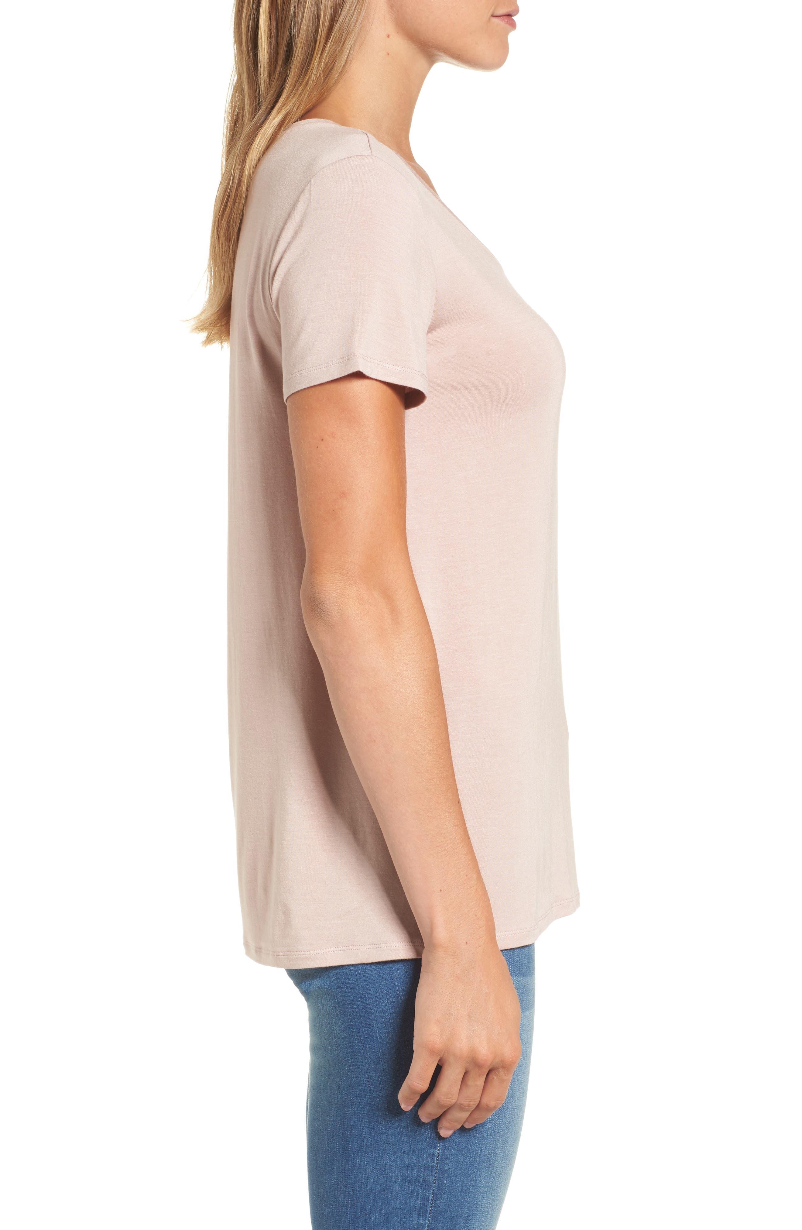 Alternate Image 3  - Halogen® Modal Jersey V-Neck Tee (Regular & Petite)