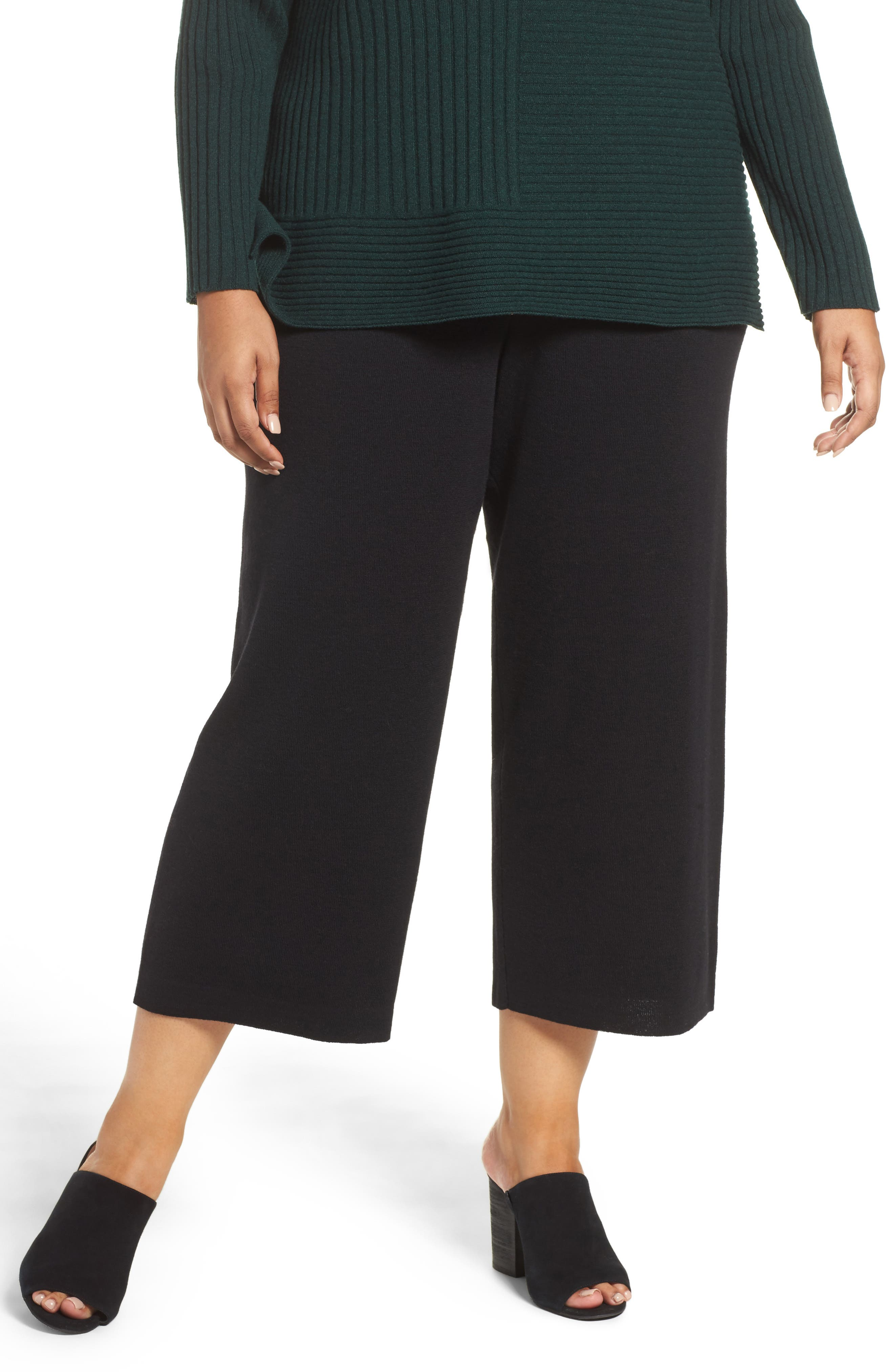 Alternate Image 1 Selected - Eileen Fisher Wide Leg Crop Wool Pants (Plus Size)