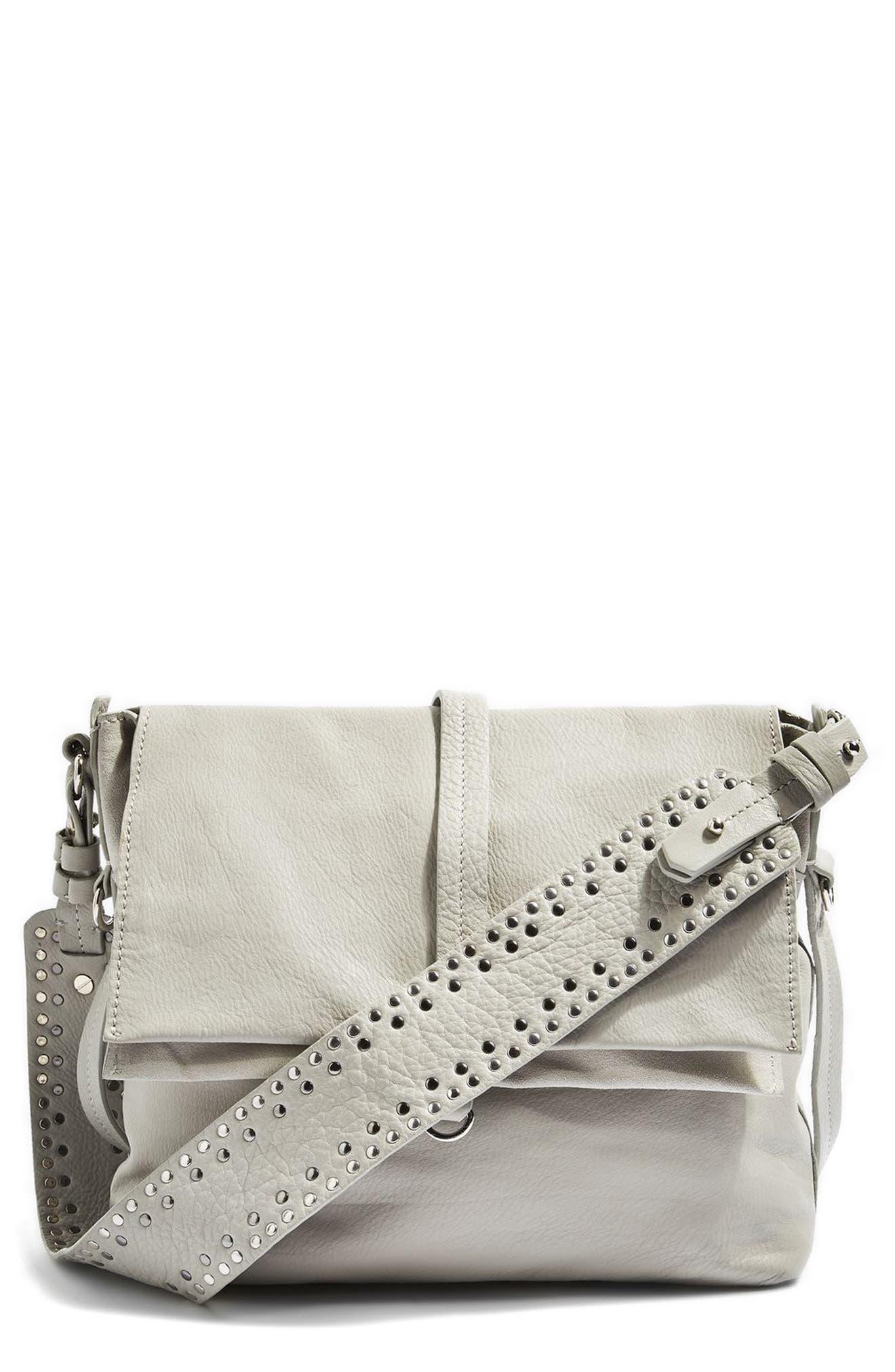 Topshop Premium Leather Studded Calfskin Hobo Bag