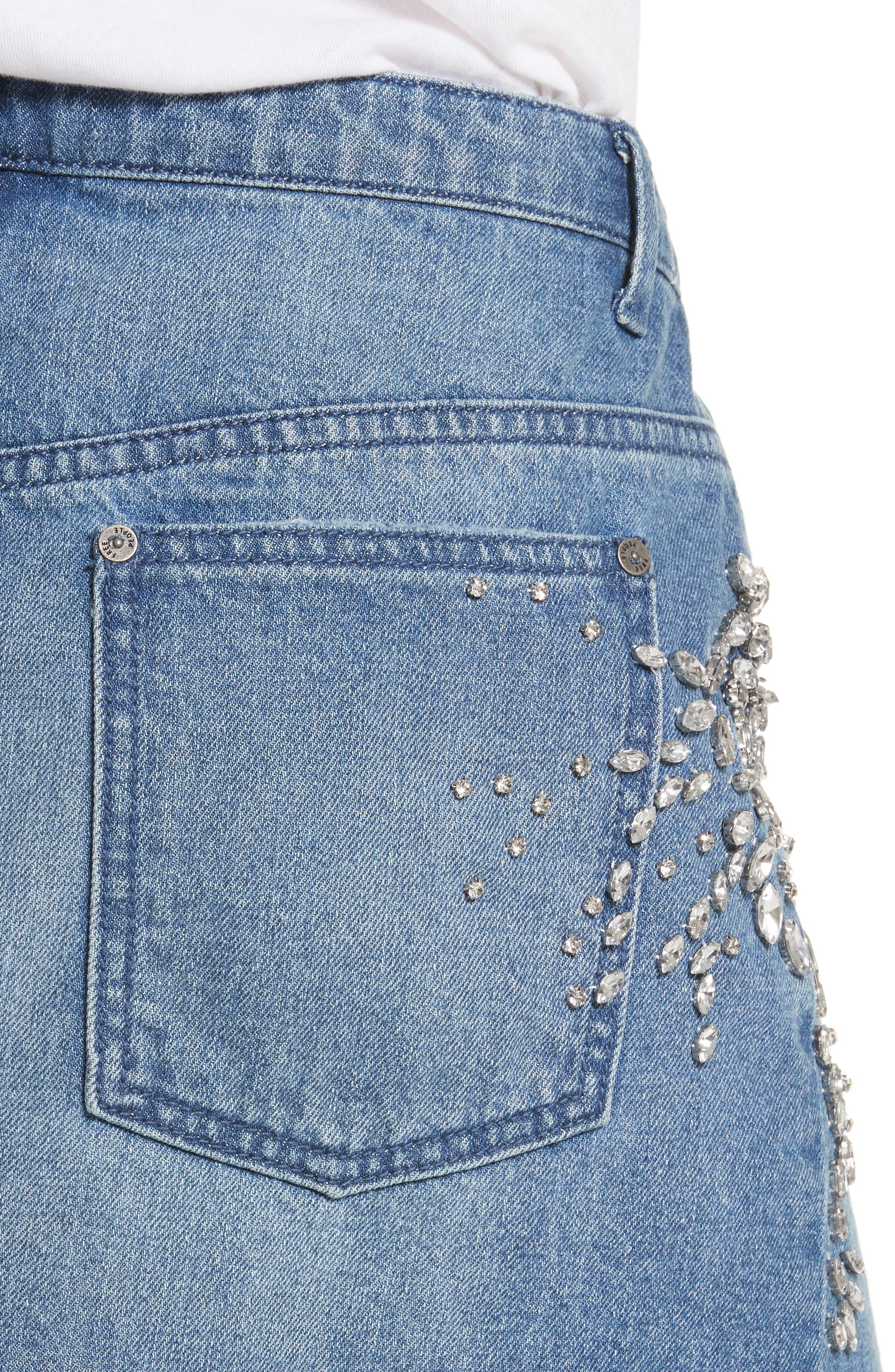 Alternate Image 4  - Free People Shine Bright Shine Far Cutoff Denim Miniskirt