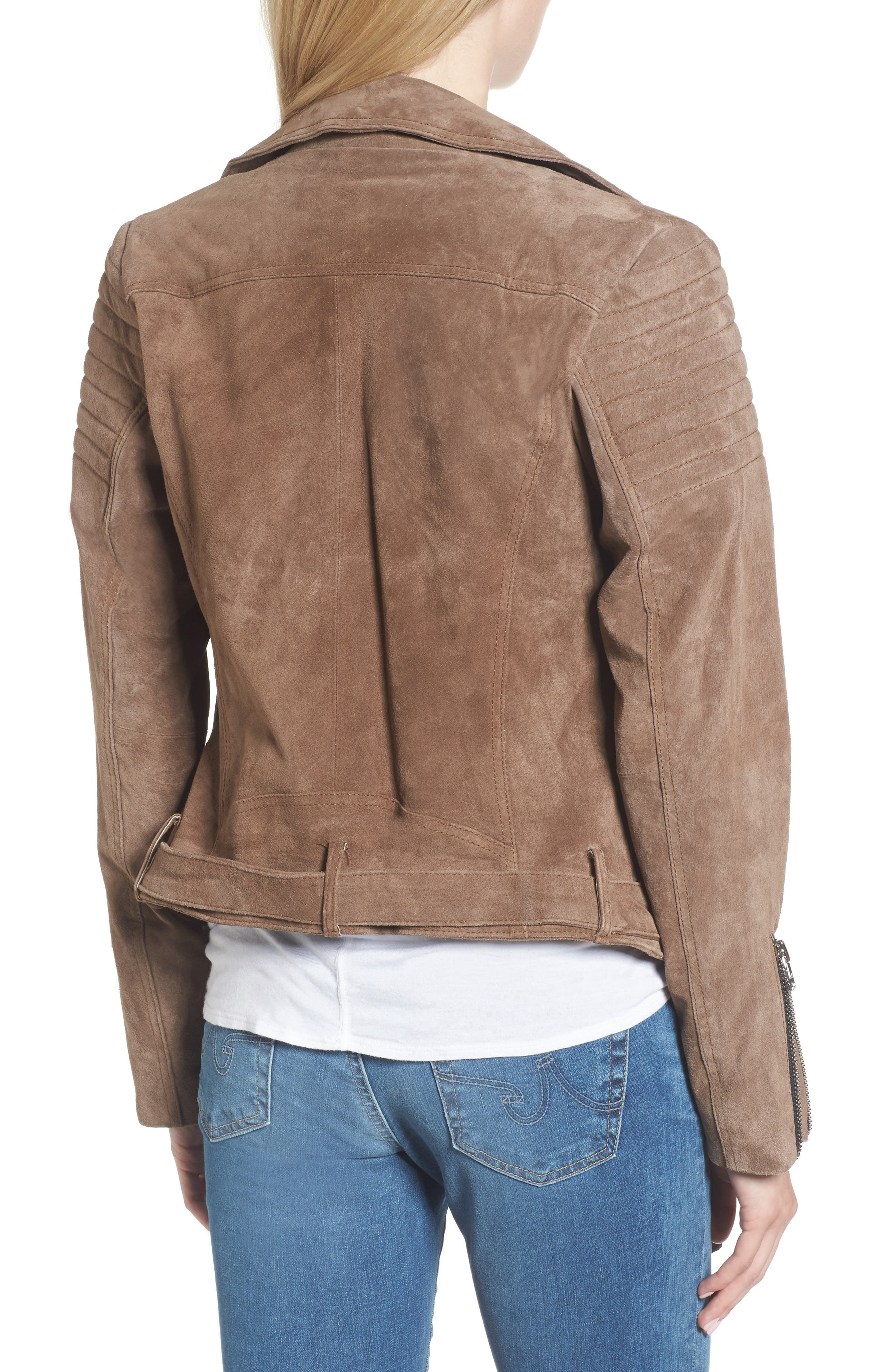 Suede Moto Jacket,                             Alternate thumbnail 2, color,                             Taupe